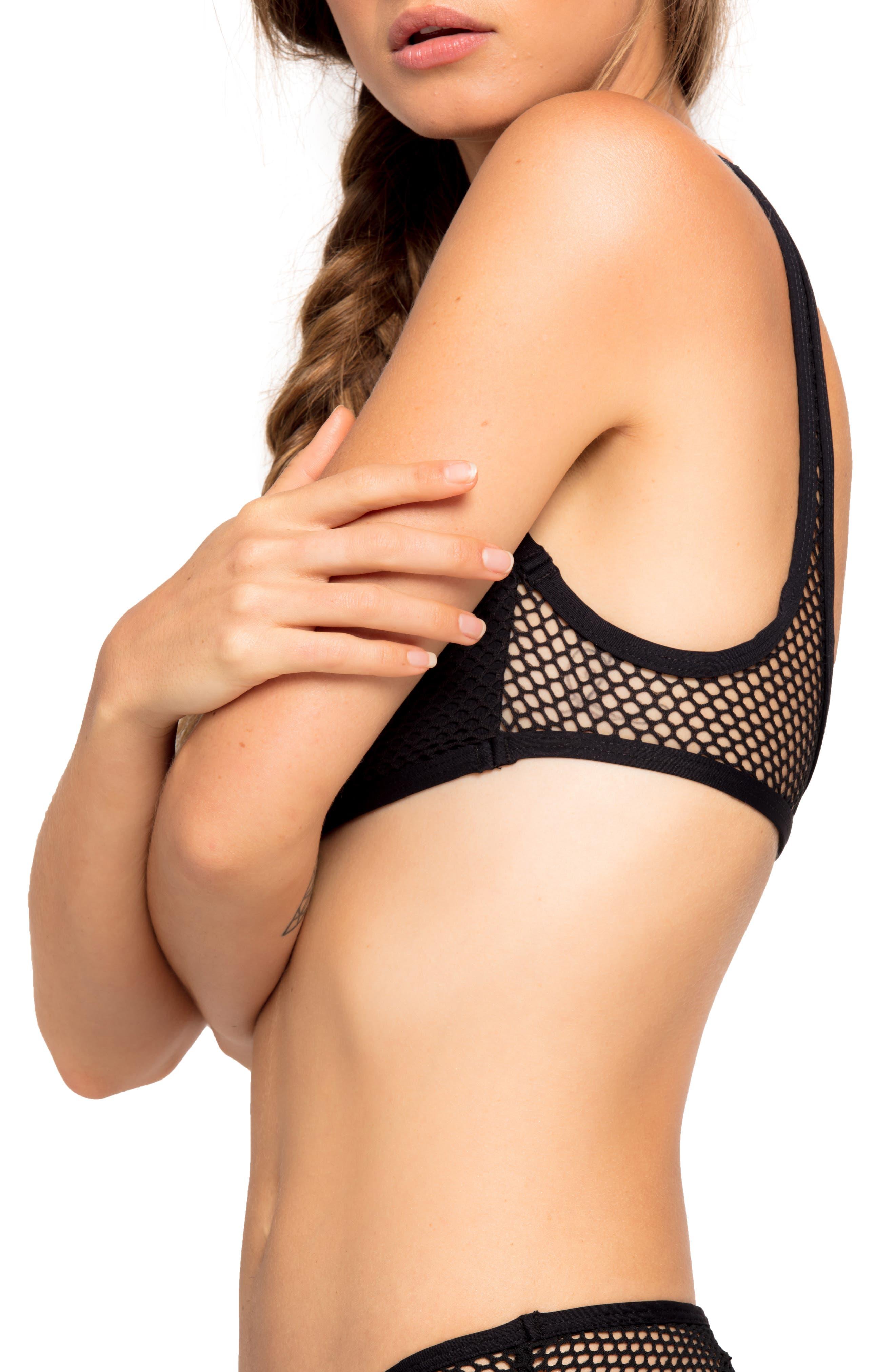 Benji Mesh Bikini Top,                             Alternate thumbnail 3, color,                             BLACK
