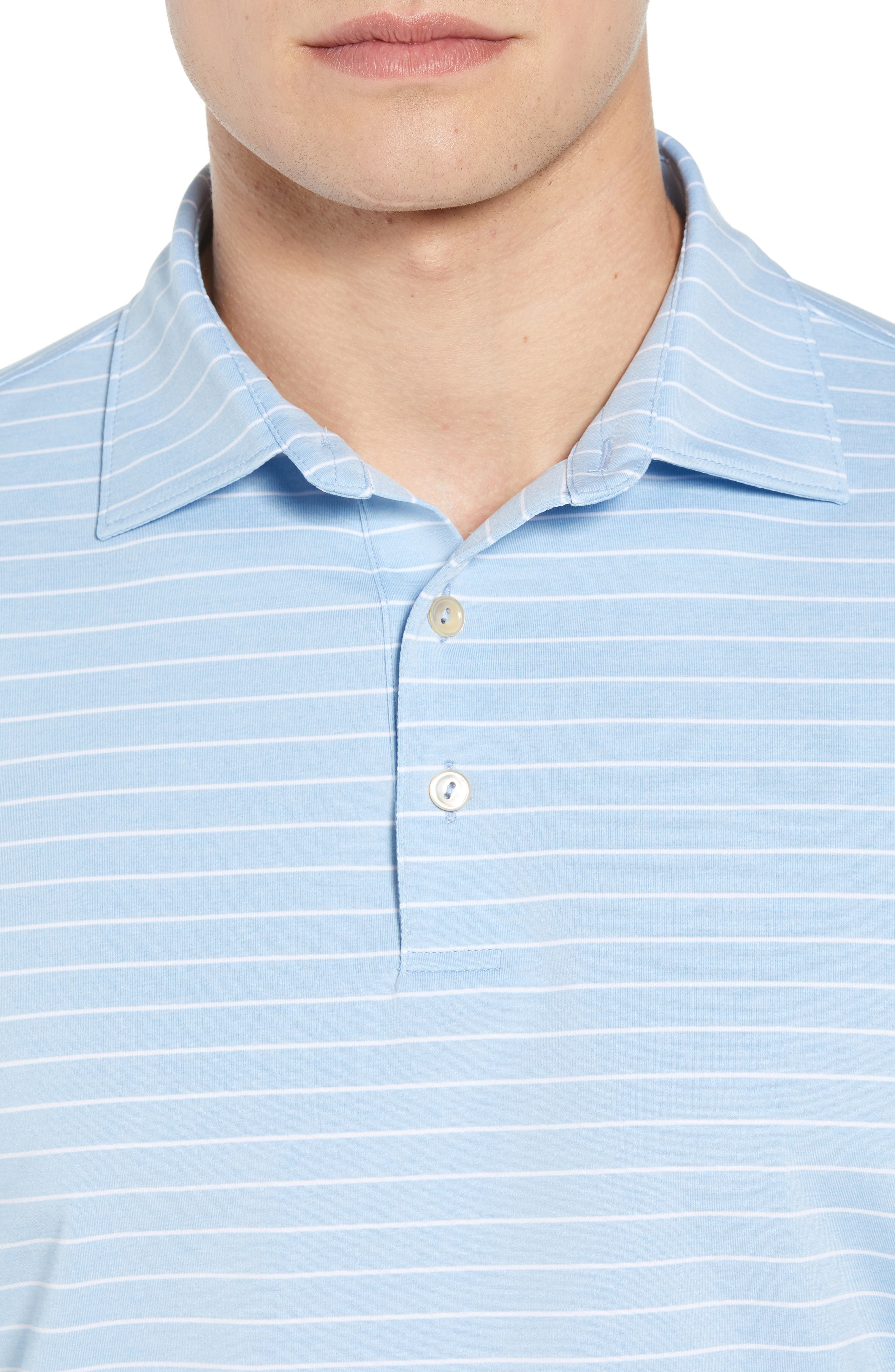Halifax Stripe Stretch Jersey Polo,                             Alternate thumbnail 4, color,                             COTTAGE BLUE