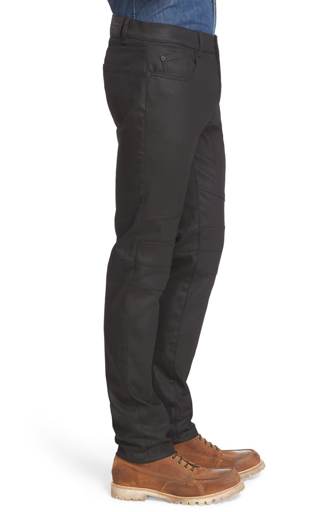 Westham Raw Stretch Denim Moto Jeans,                             Alternate thumbnail 6, color,                             001