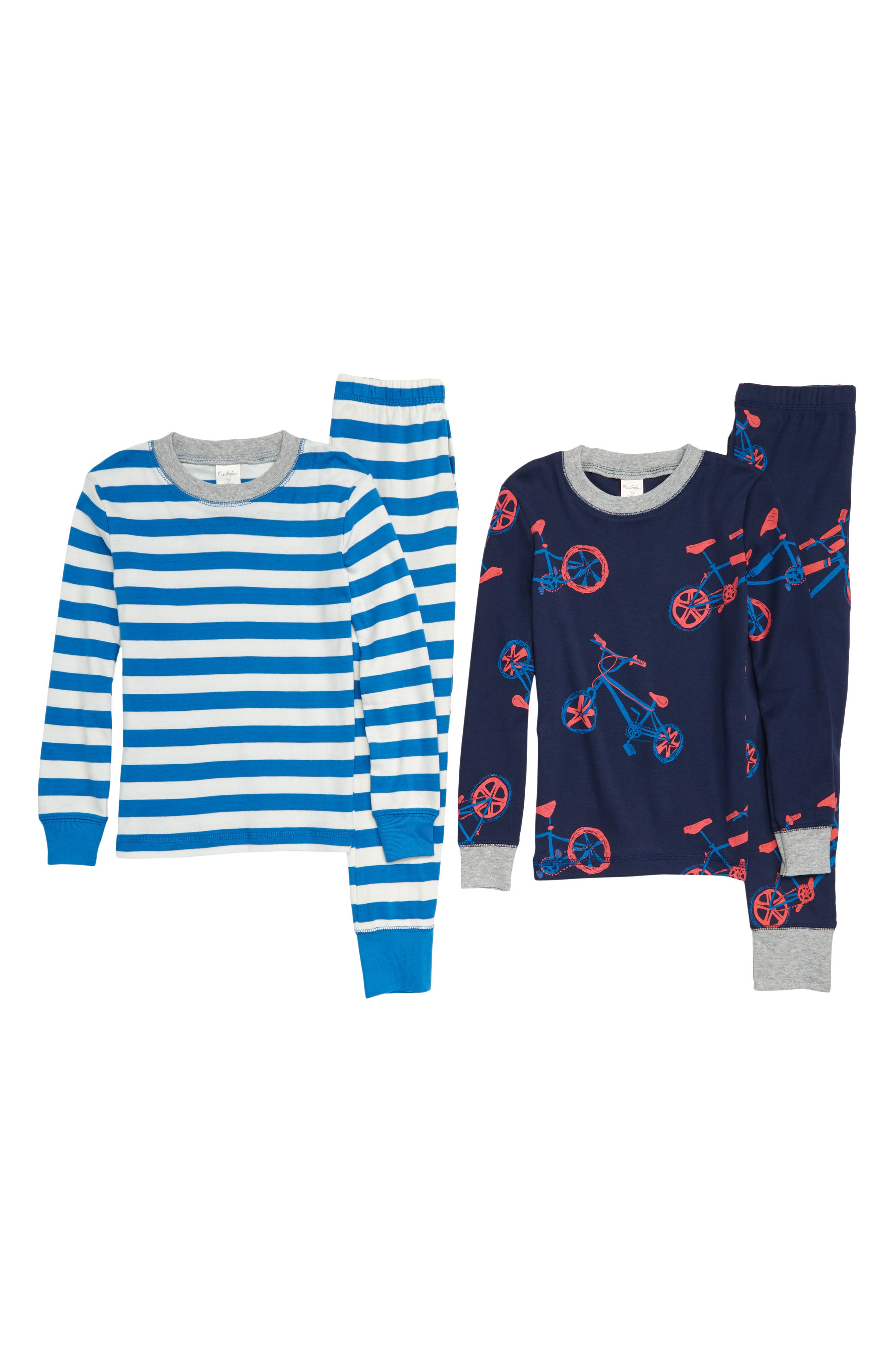 Cosy 2-Pack Fitted Two-Piece Pajamas,                             Main thumbnail 1, color,                             NAVY SCHOOL NAVY BIKE