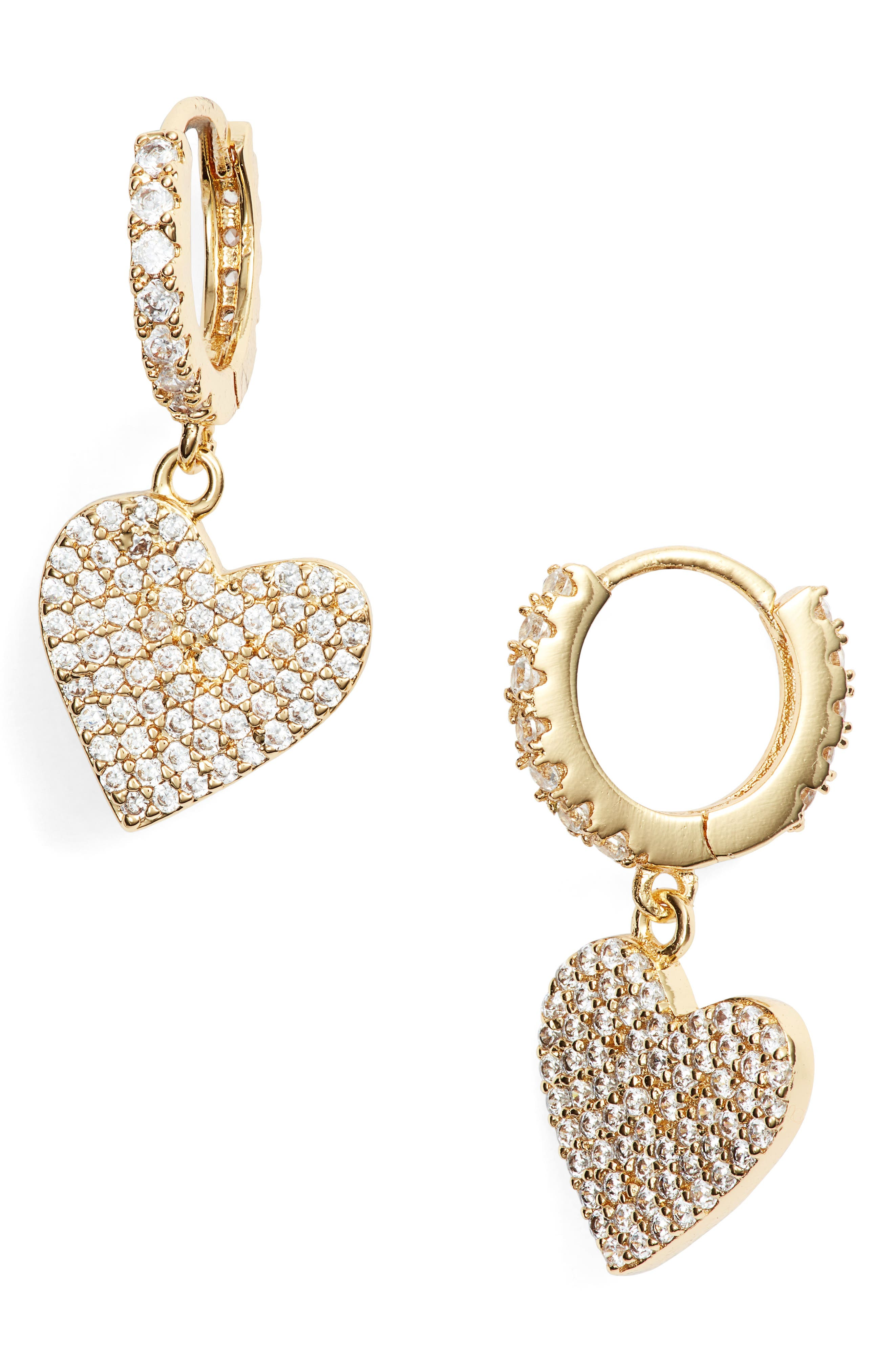 LULU DK Heart Huggie Earrings in Gold
