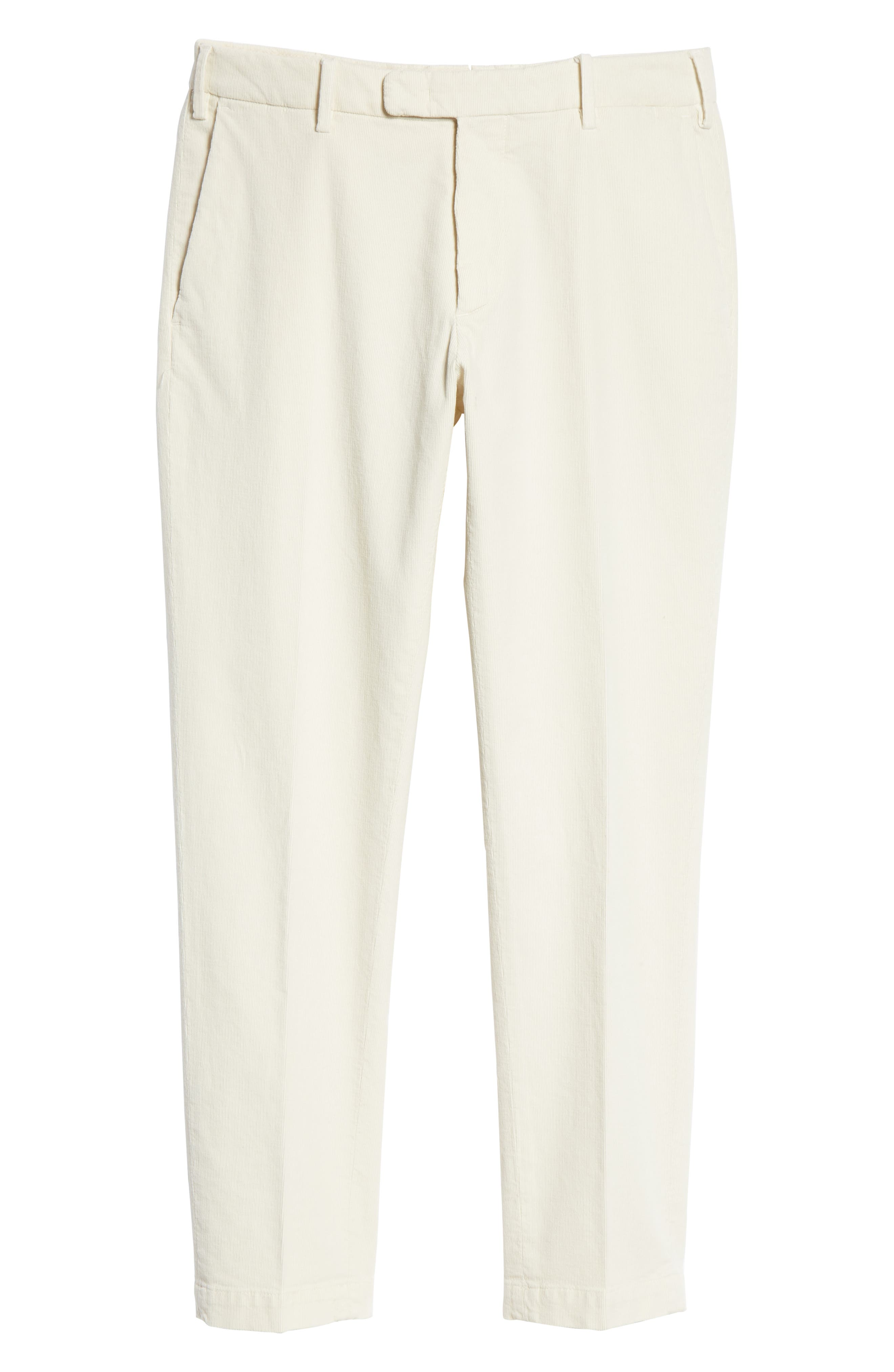 Flat Front Stretch Solid Cotton Blend Trousers,                             Alternate thumbnail 6, color,                             WINTER WHITE