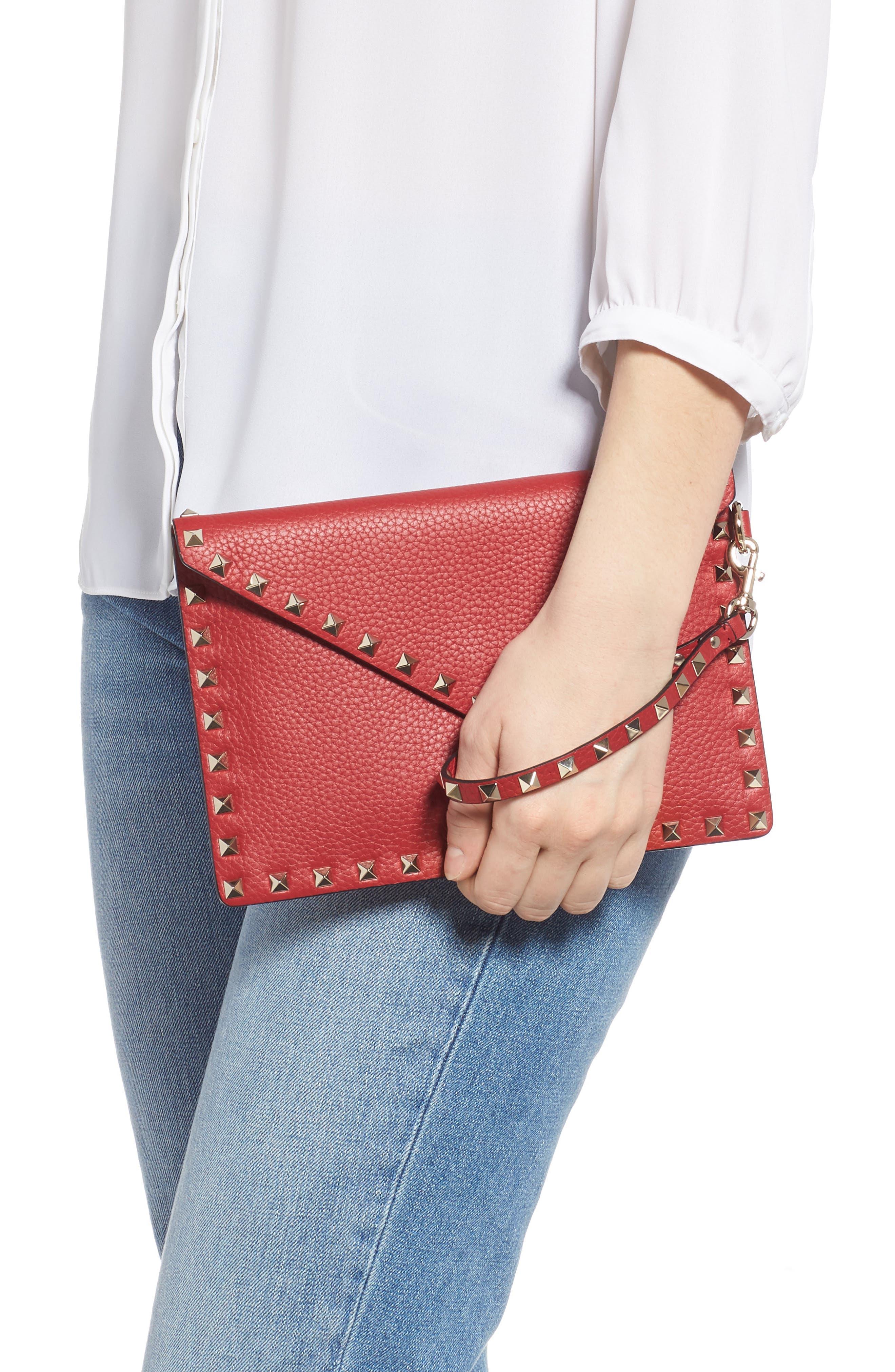 Medium Rockstud Leather Envelope Pouch,                             Alternate thumbnail 2, color,                             ROSSO V