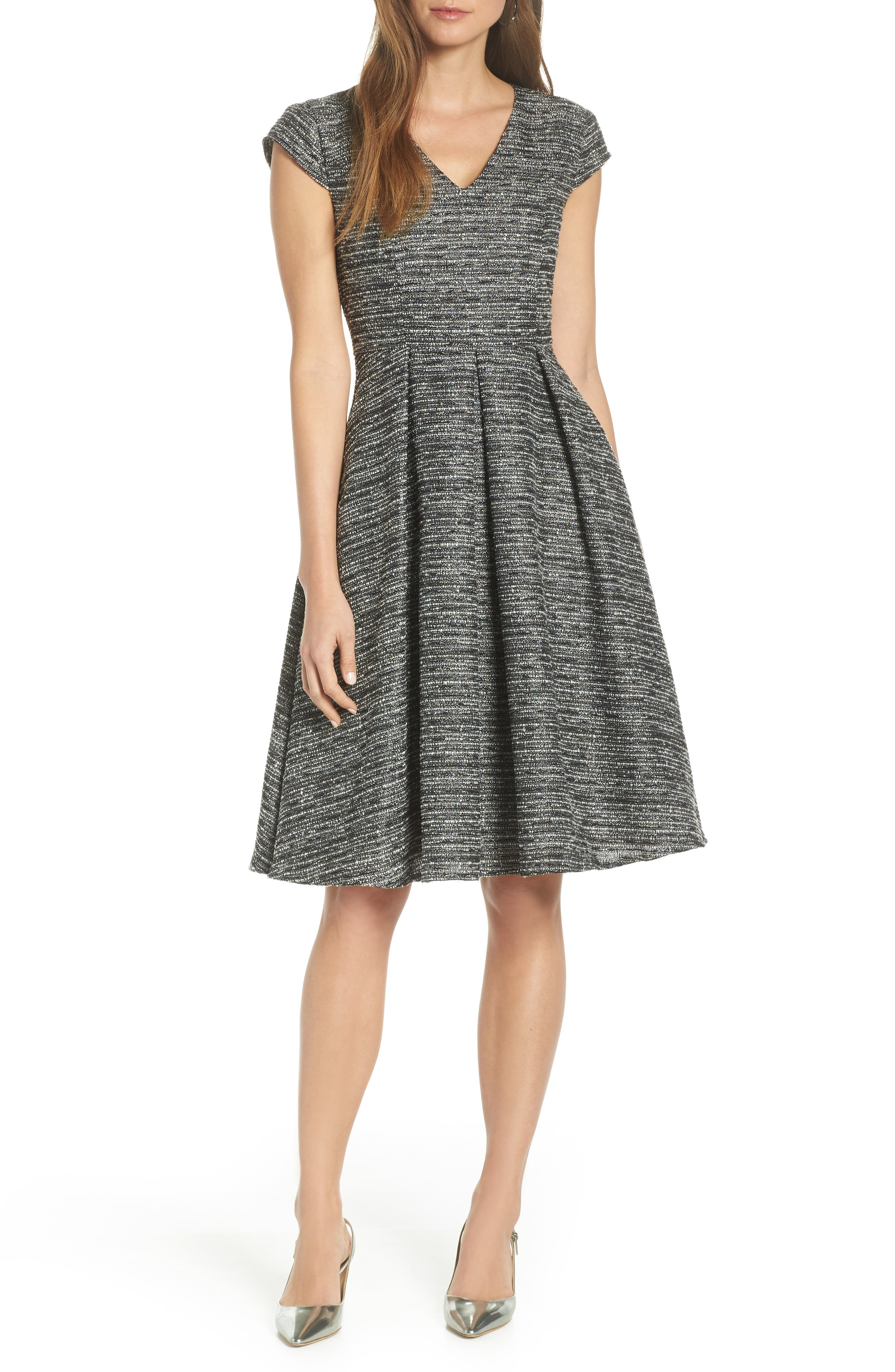 1901 Cap Sleeve Tweed Fit & Flare Dress, Main, color, GREY