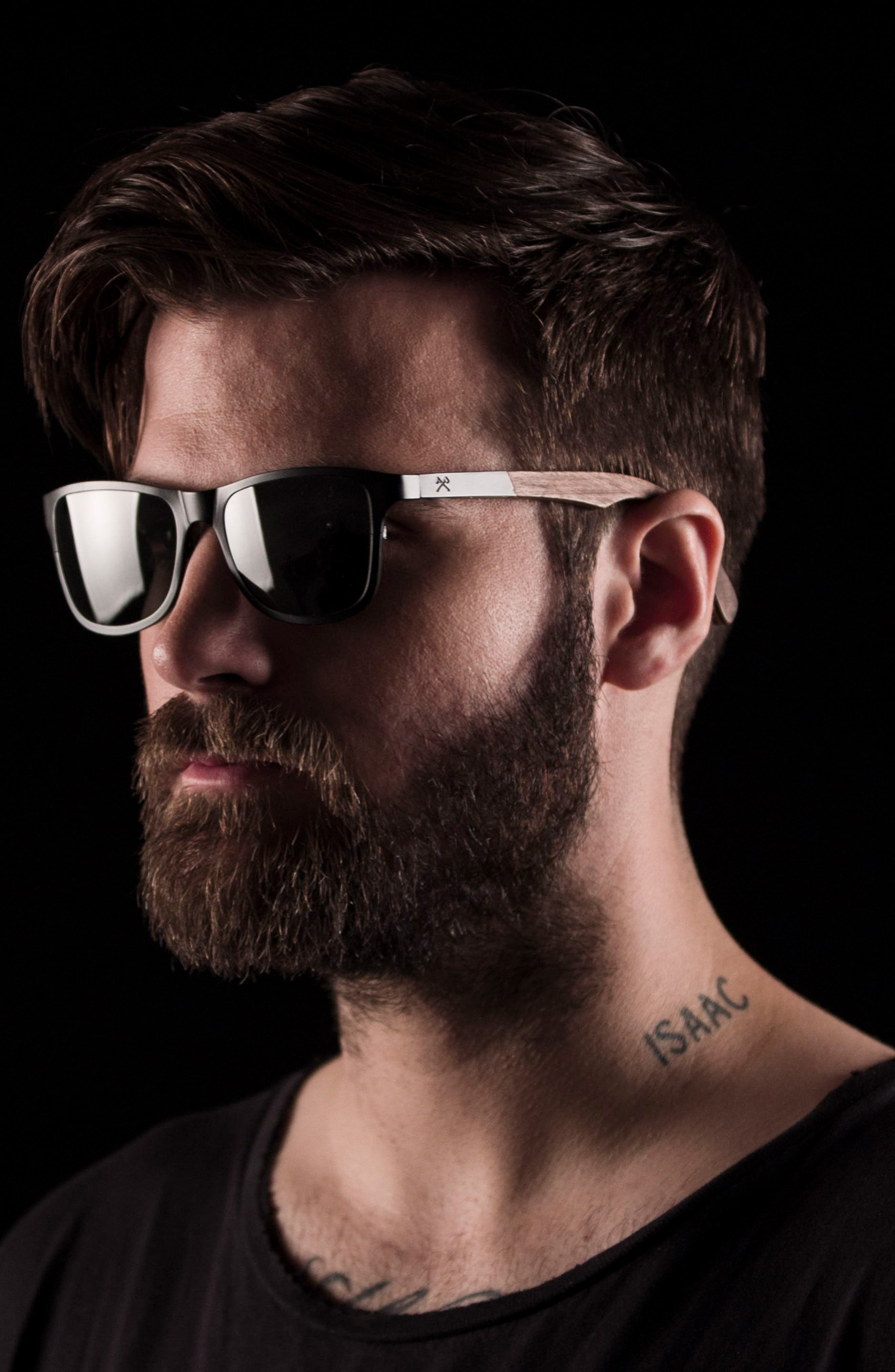 'Canby' 54mm Titanium & Wood Sunglasses,                             Alternate thumbnail 2, color,                             BLACK/ WALNUT
