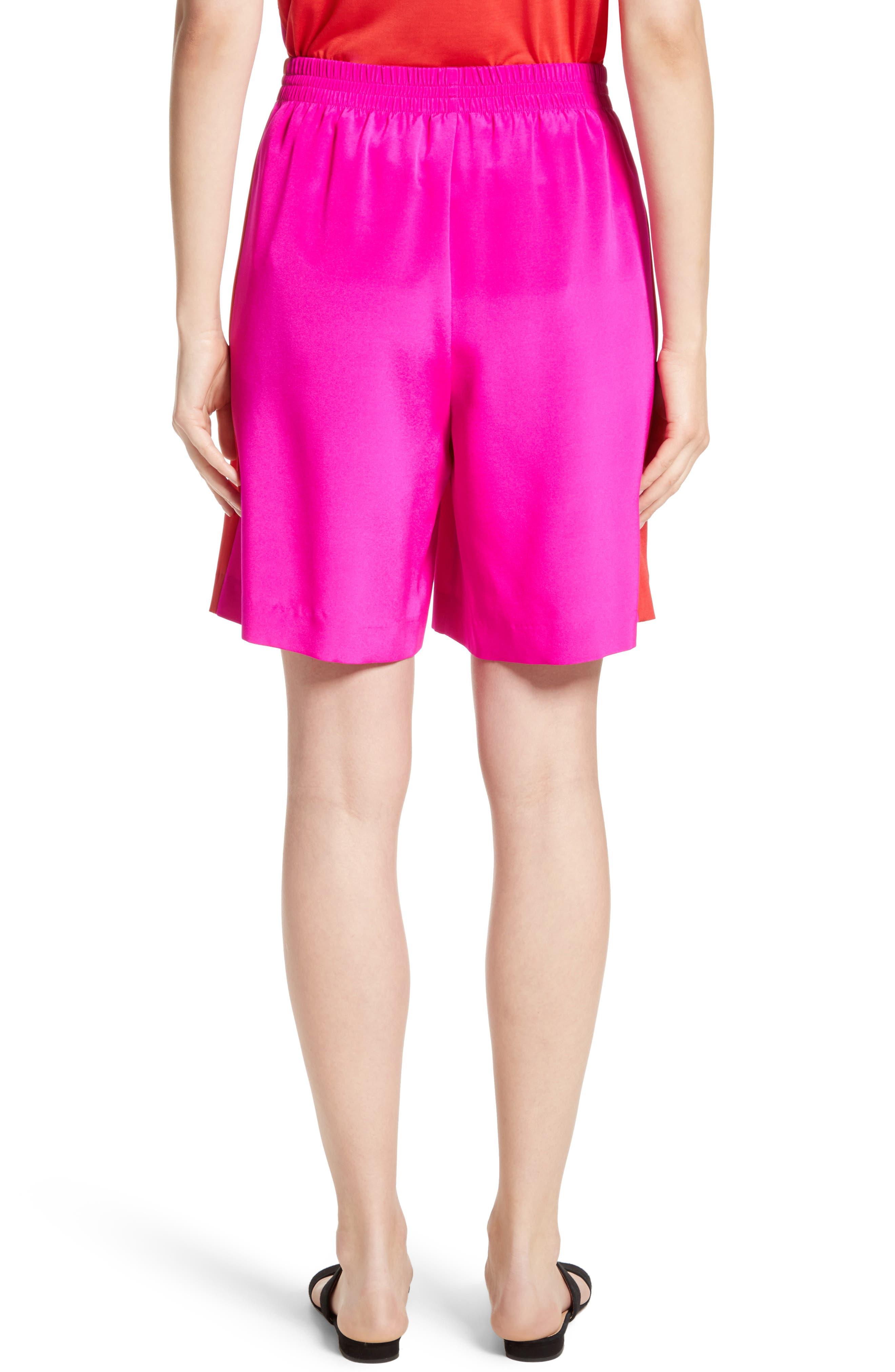 Silk Crêpe de Chine Contrast Side Shorts,                             Alternate thumbnail 2, color,                             670