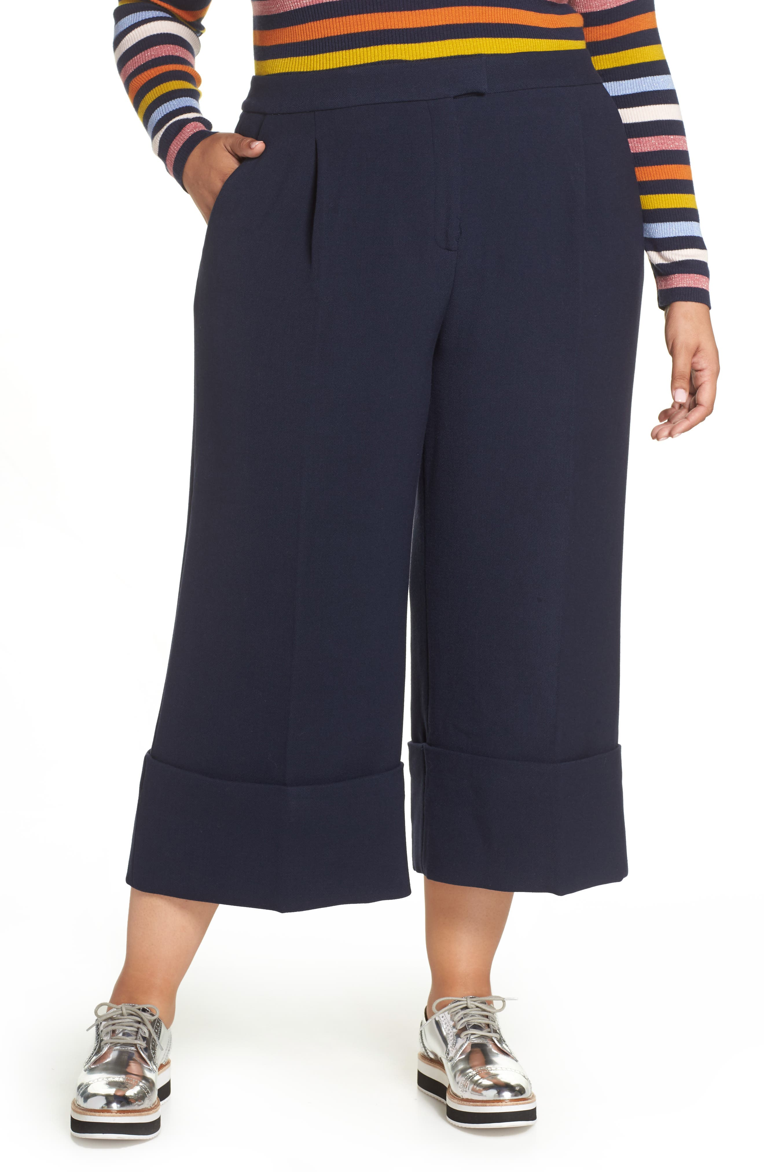 HALOGEN<SUP>®</SUP>,                             x Atlantic-Pacific High Waist Wide Cuff Ankle Pants,                             Main thumbnail 1, color,                             410