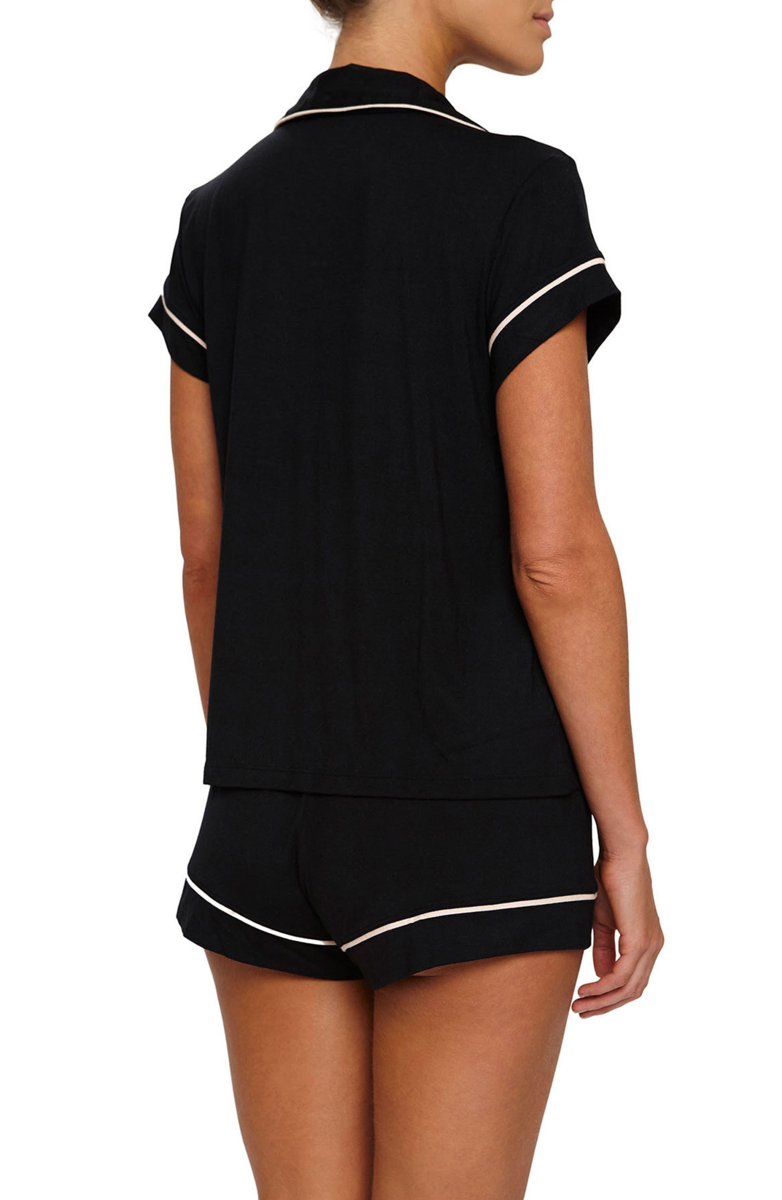'Gisele' Shorty Pajamas,                             Alternate thumbnail 2, color,                             BLACK