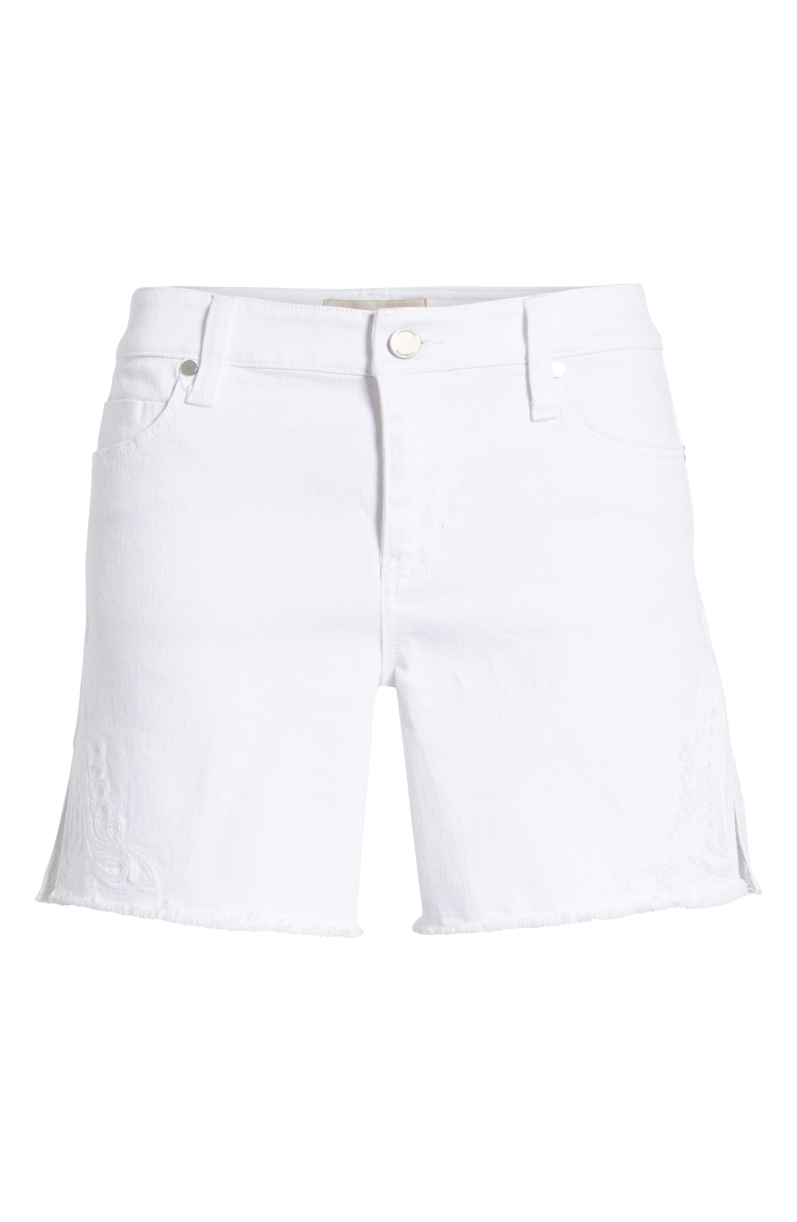 Embroidered Side Slit Shorts,                             Alternate thumbnail 6, color,