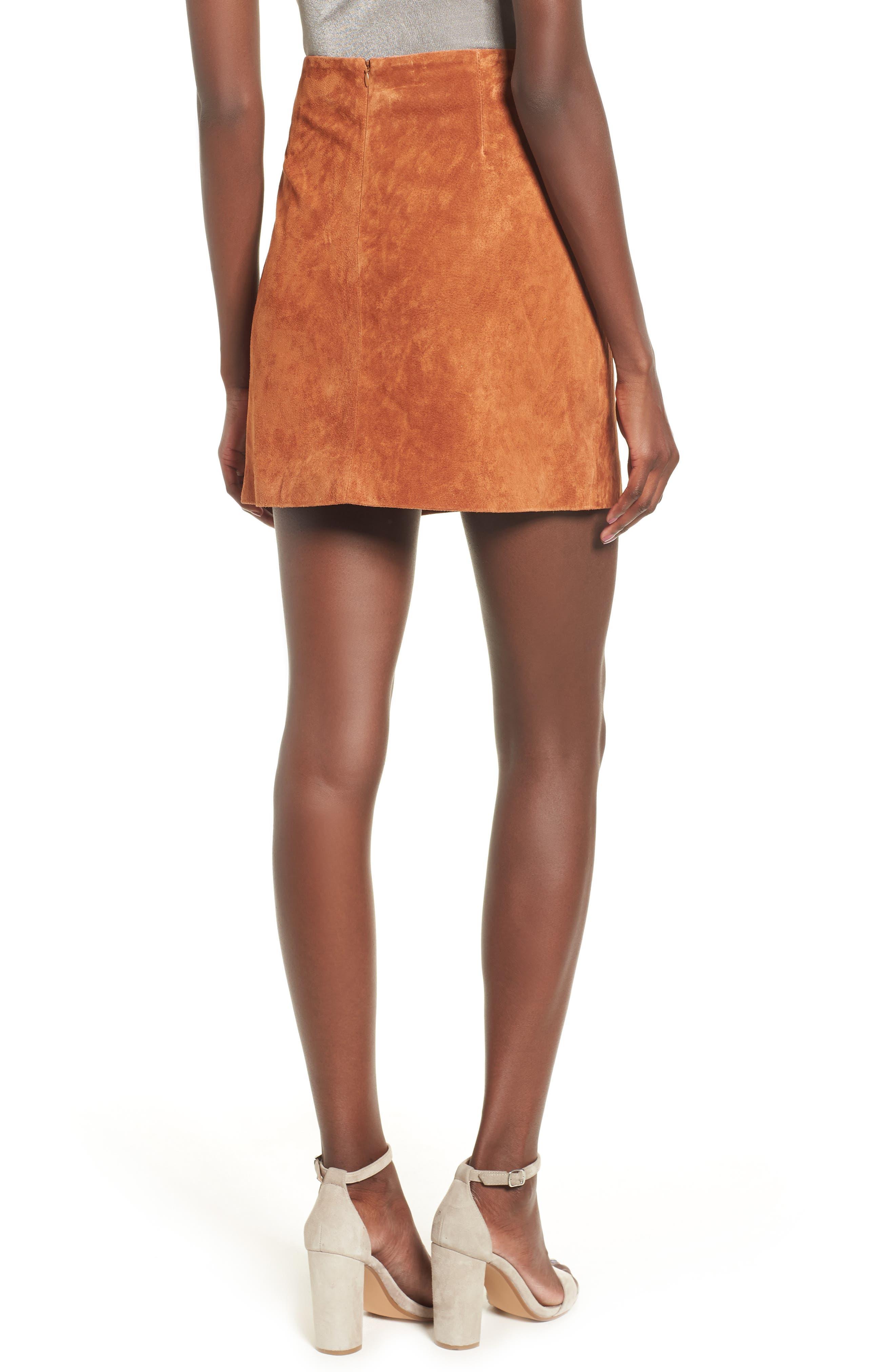Double Buckle Suede Skirt,                             Alternate thumbnail 2, color,                             EL DORADO