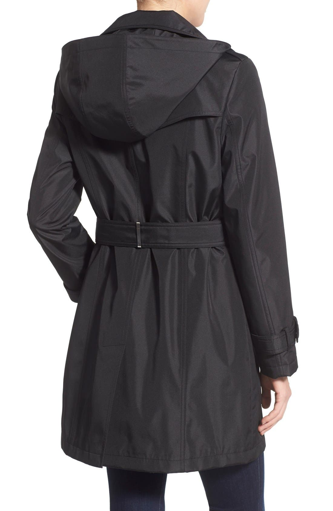Single Breasted Belted Trench Coat,                             Alternate thumbnail 4, color,                             001