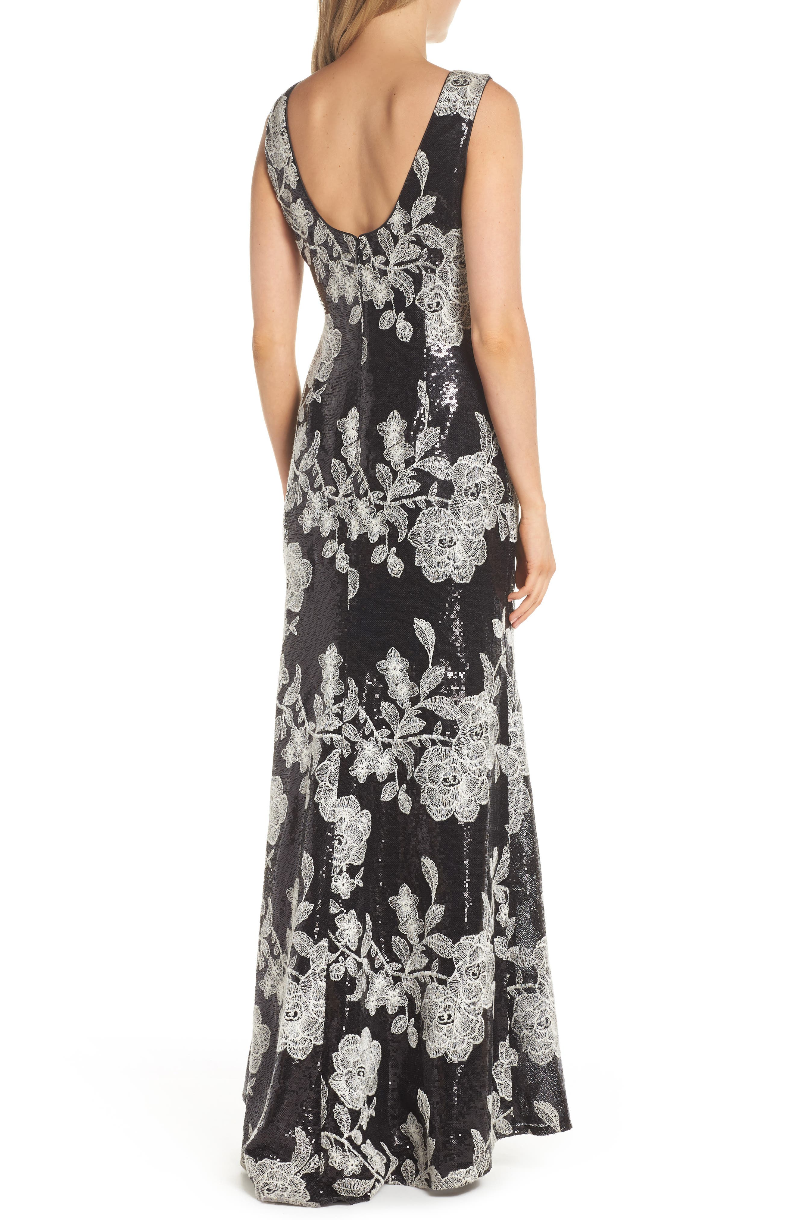 Embroidered Gown,                             Alternate thumbnail 2, color,                             BLACK