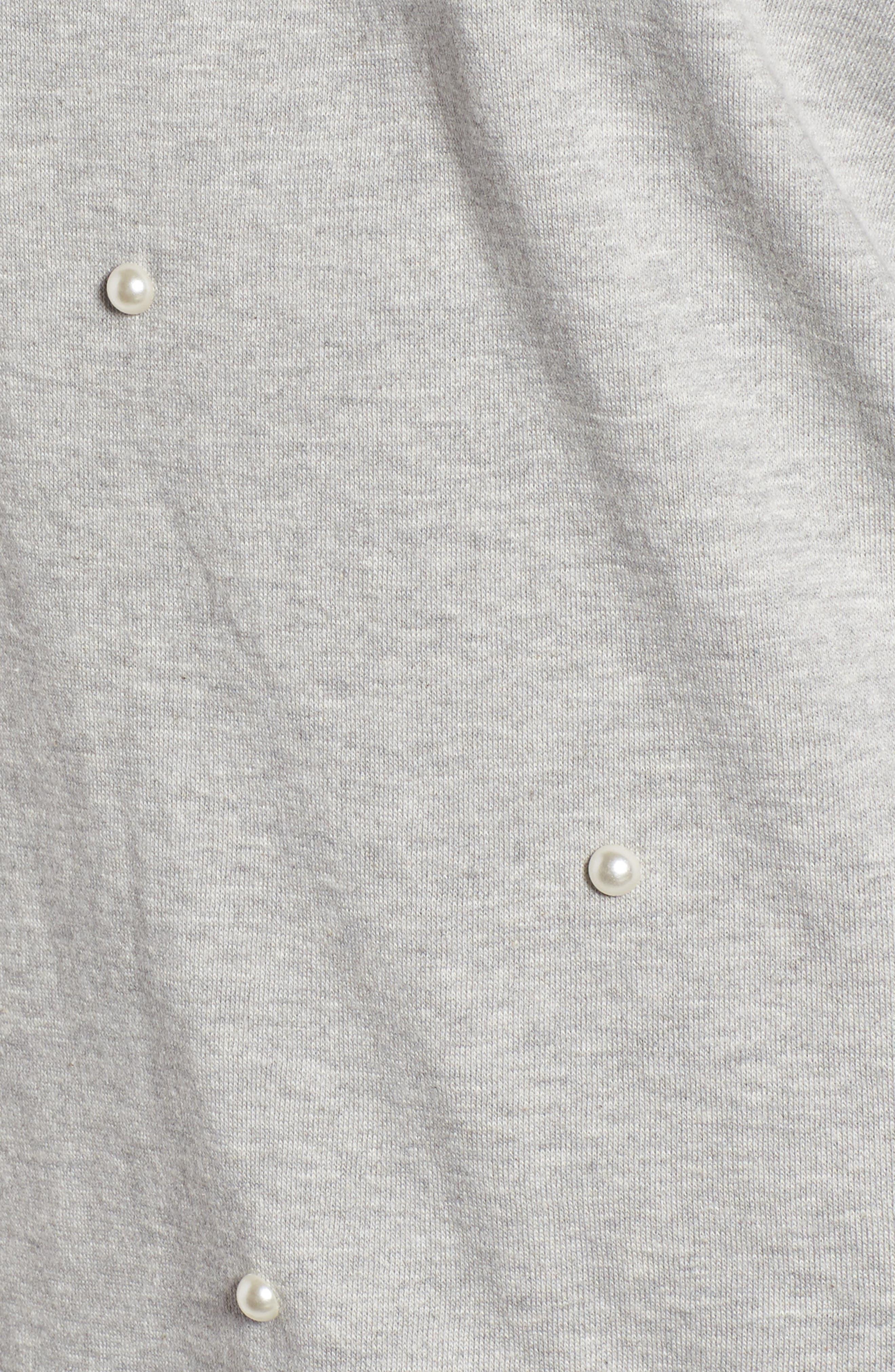 Embellished Off the Shoulder Sweatshirt,                             Alternate thumbnail 5, color,                             020