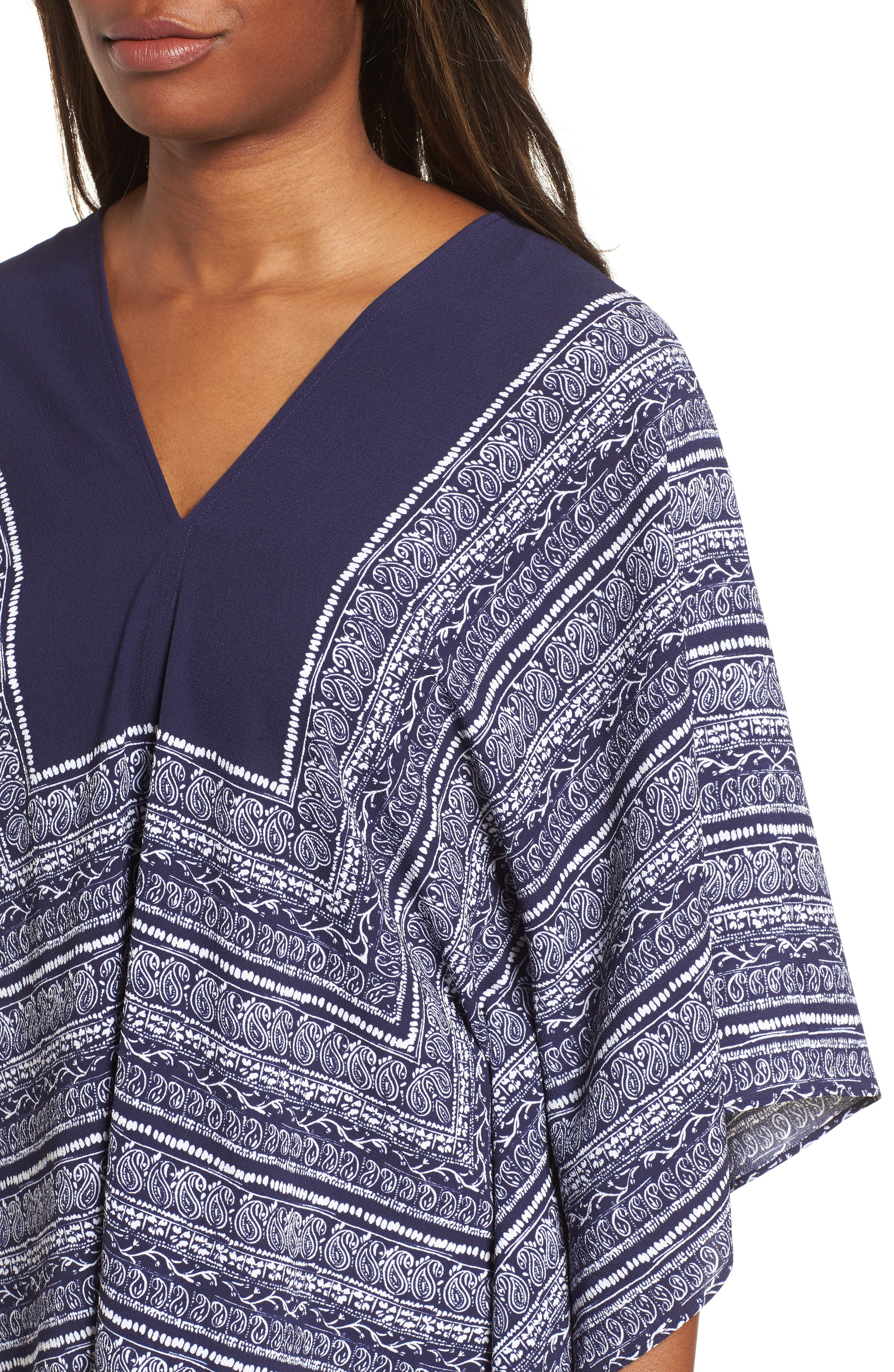Paisley Scarf Poncho Top,                             Alternate thumbnail 4, color,                             EVENING NAVY