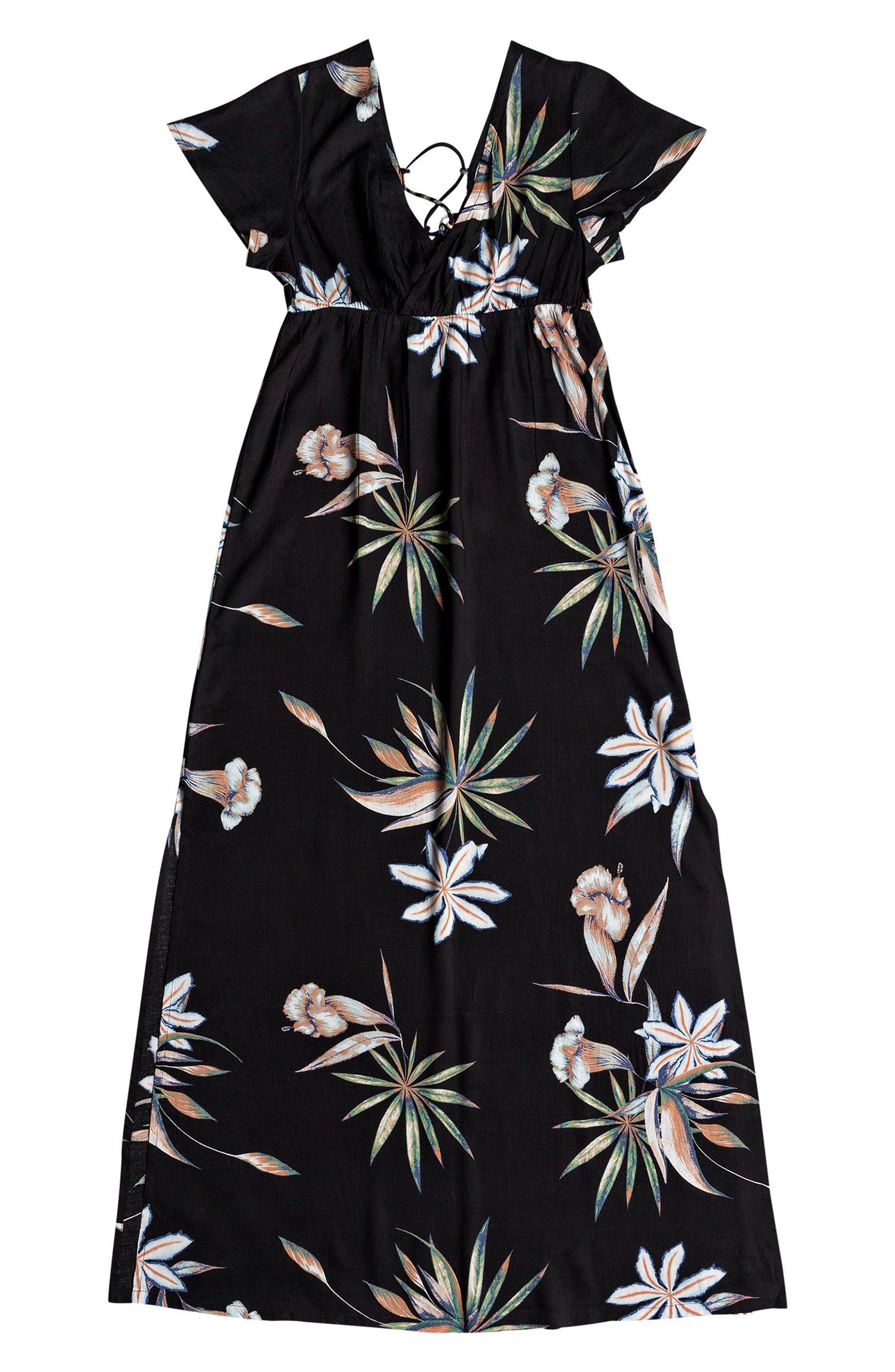 Lotus Heart Midi Dress,                             Alternate thumbnail 6, color,                             TRUE BLACK NIGHTLIGHTS