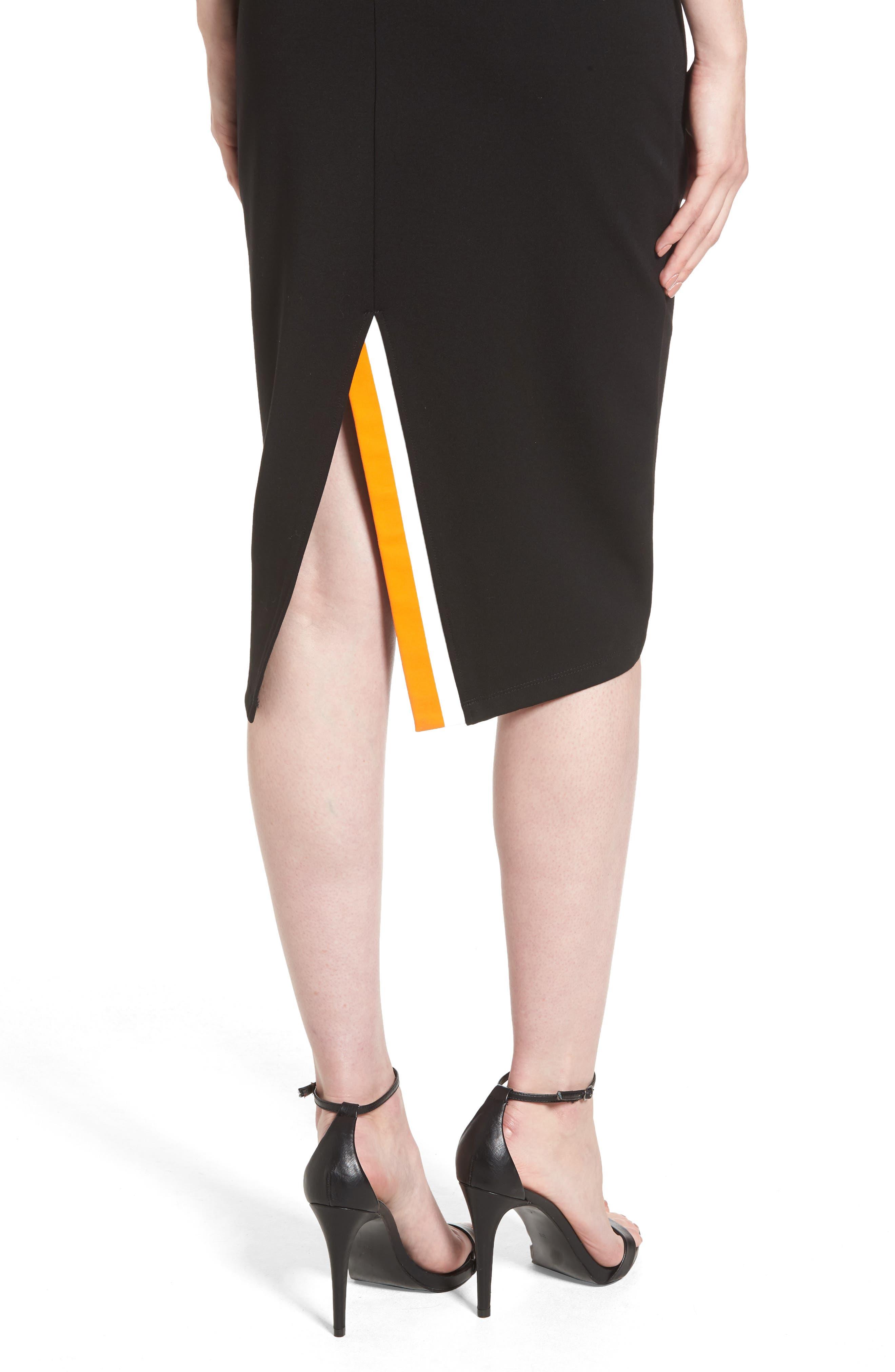 Ponte Sheath Dress,                             Alternate thumbnail 4, color,                             BLACK