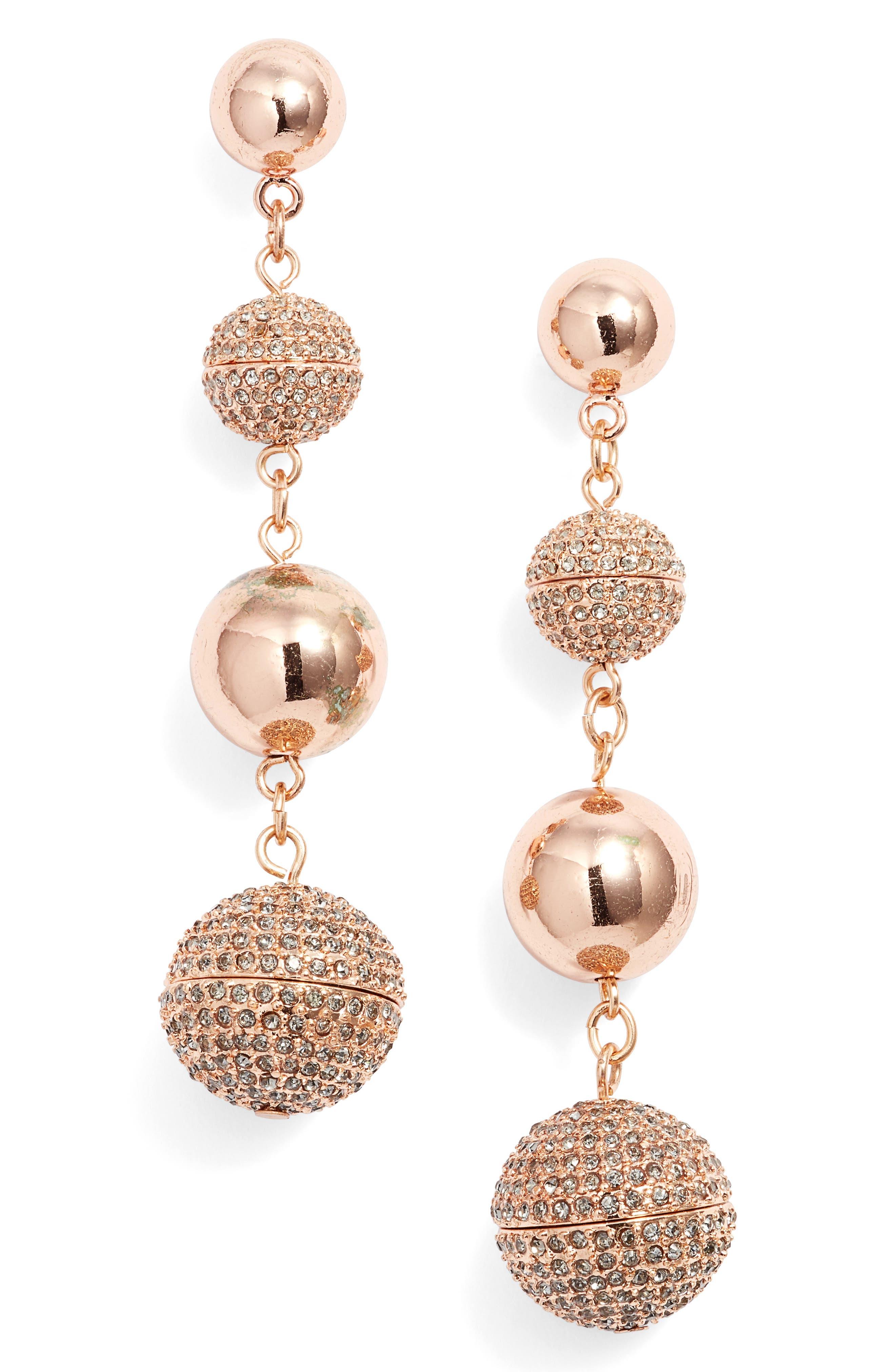 Statement Pavé Sphere Drop Earrings,                             Main thumbnail 2, color,