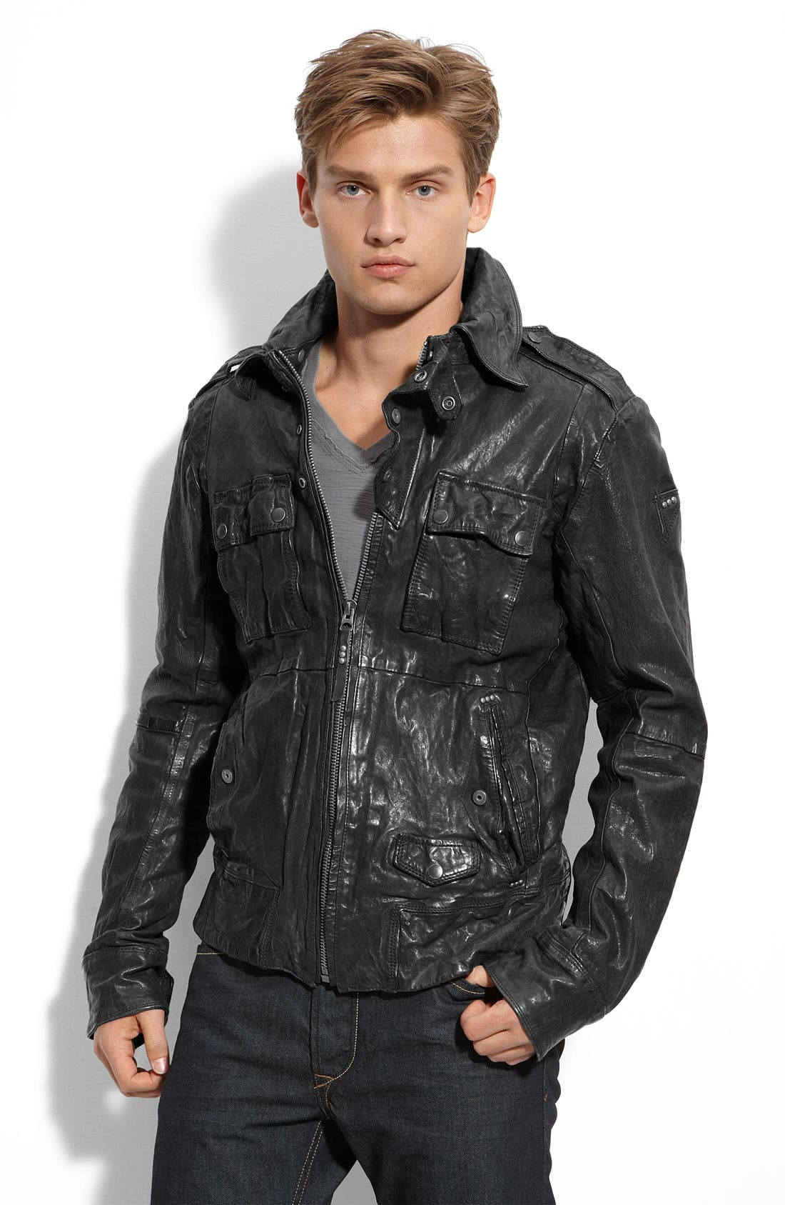 'Loon' Leather Jacket, Main, color, 001