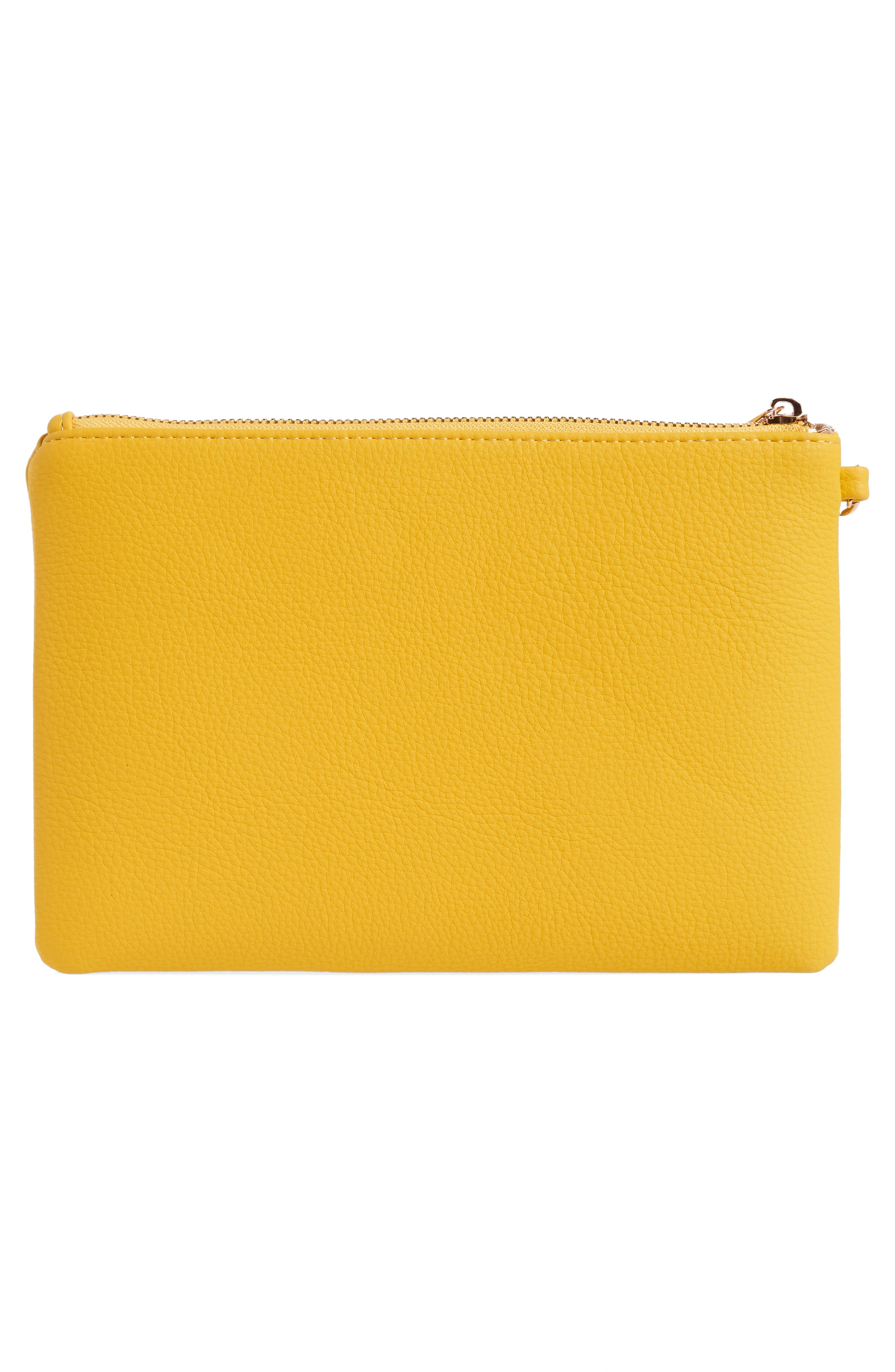 Love Embellished Faux Leather Wristlet,                             Alternate thumbnail 3, color,                             YELLOW