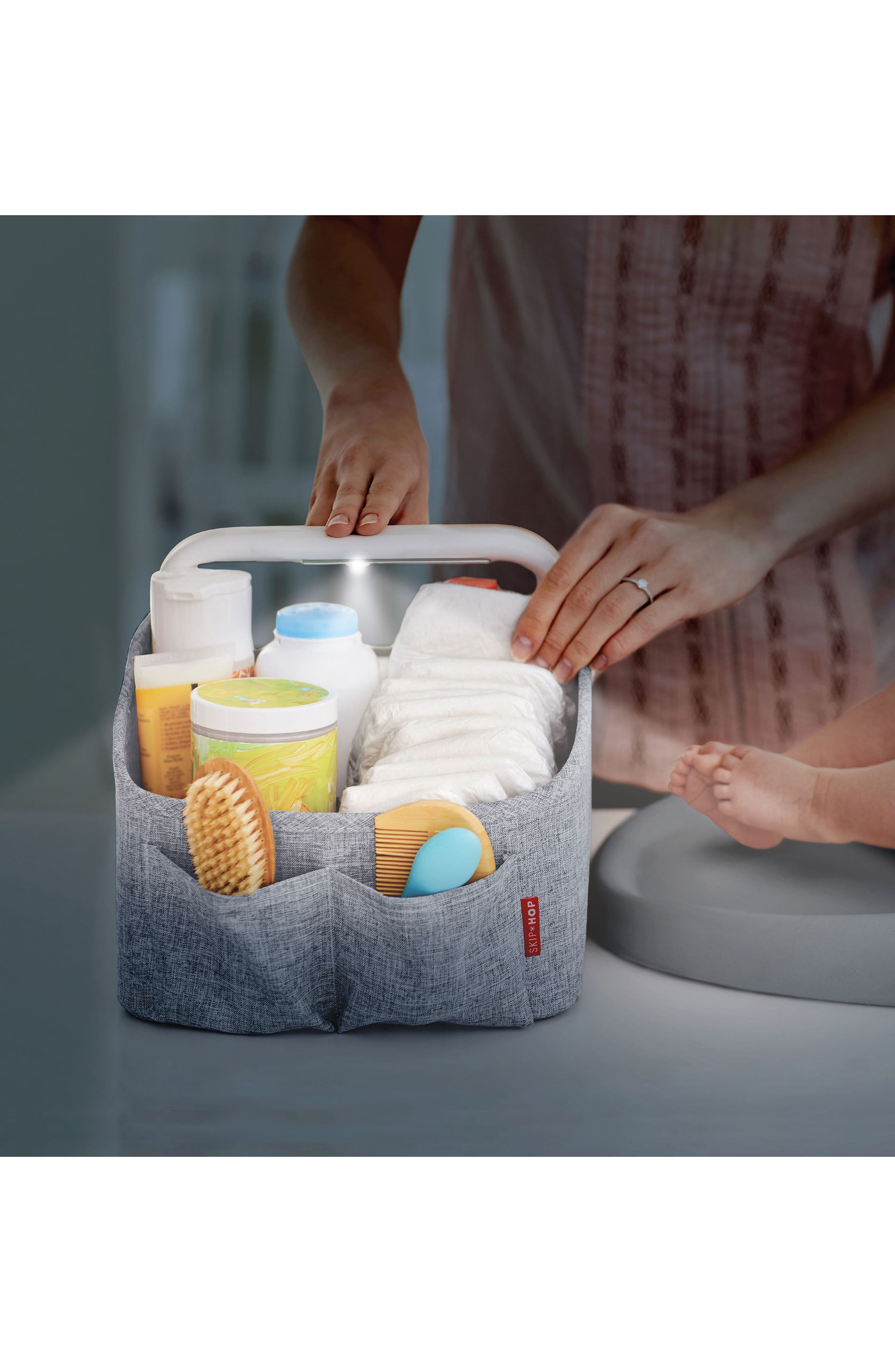 Light Up Diaper Caddy,                             Alternate thumbnail 4, color,                             HEATHER GREY