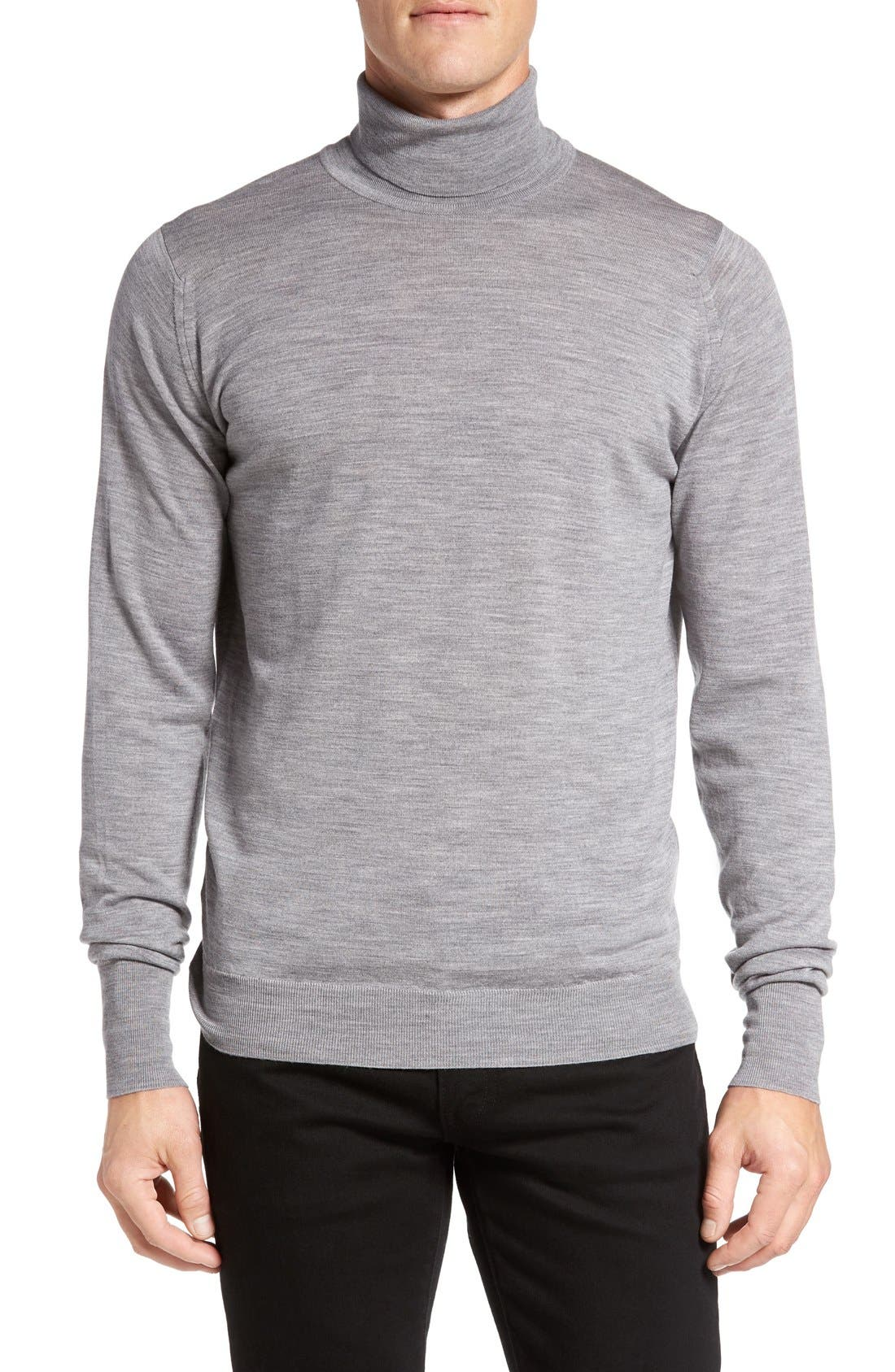 'Richards' Easy Fit Turtleneck Wool Sweater,                             Main thumbnail 6, color,