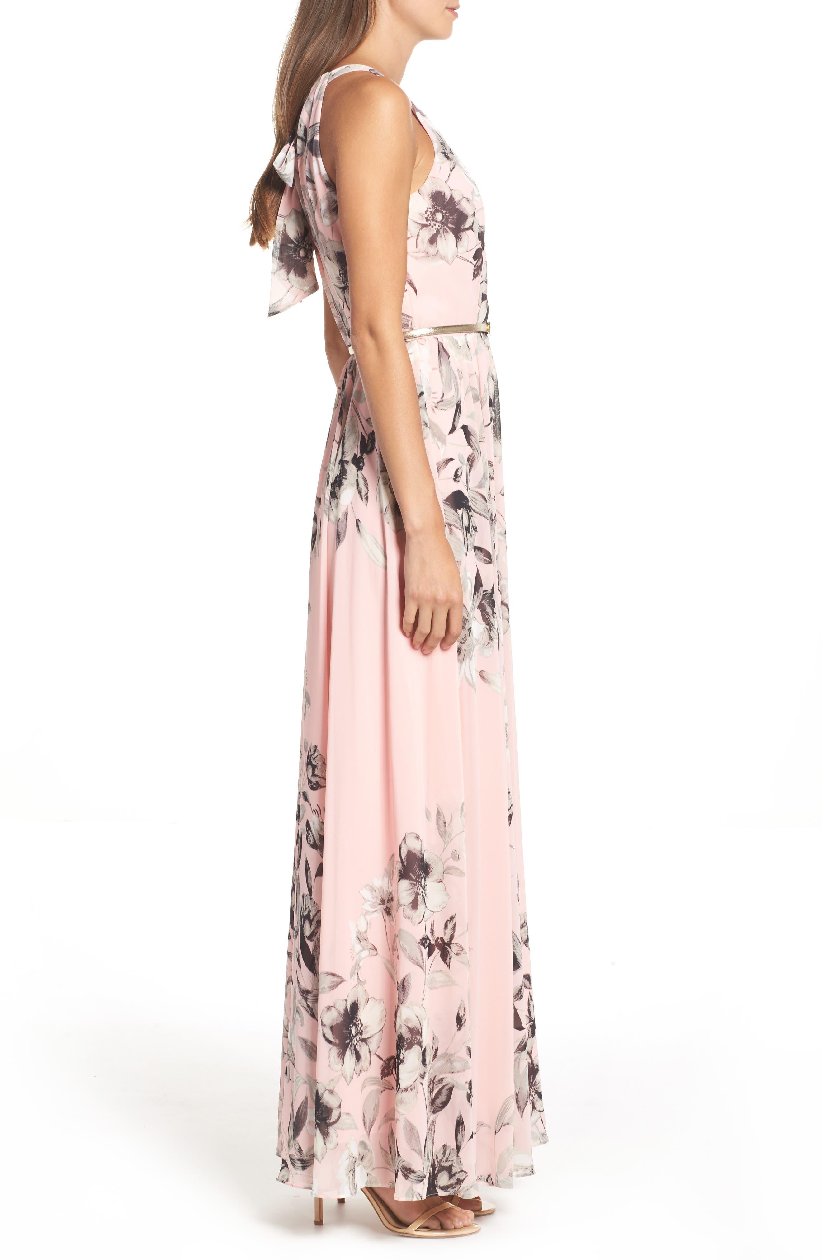 Belted Chiffon Maxi Dress,                             Alternate thumbnail 4, color,                             PINK MULTI