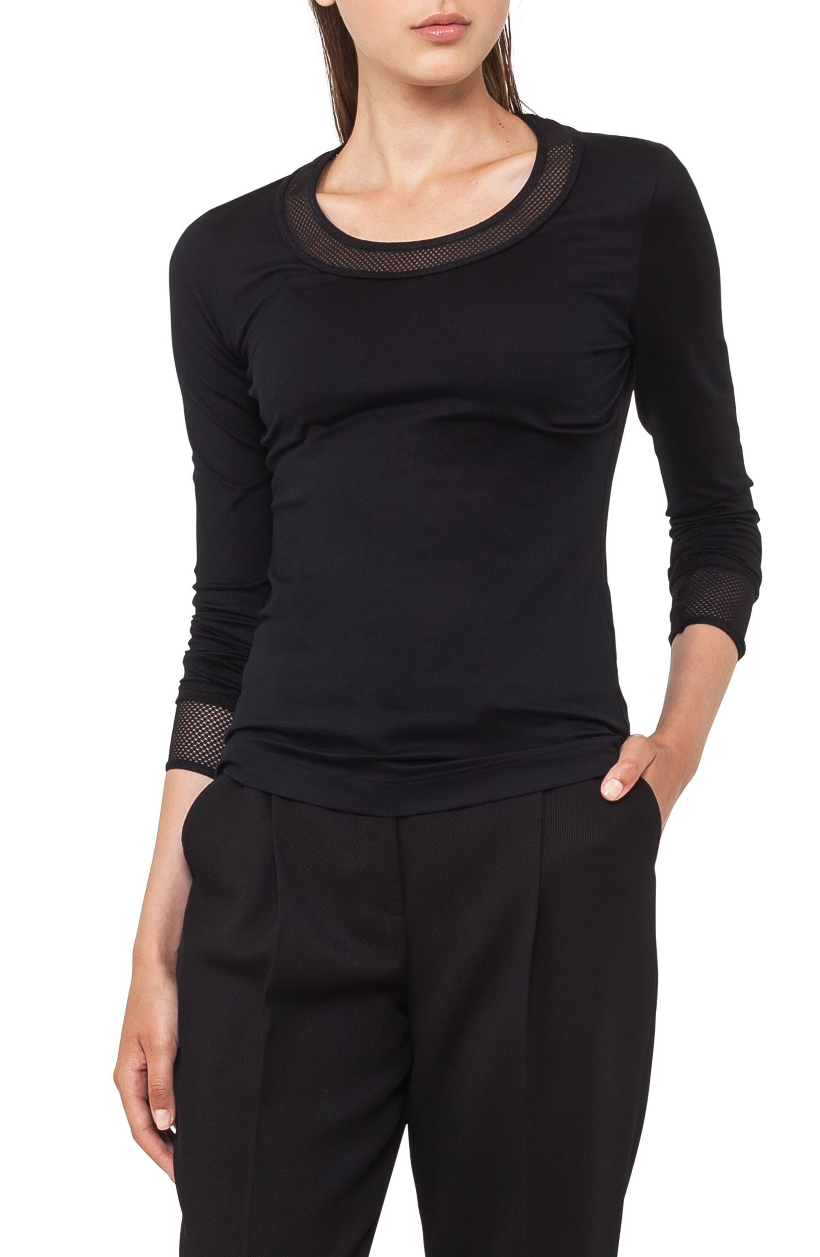 Mesh Detail Jersey Top,                         Main,                         color, 009