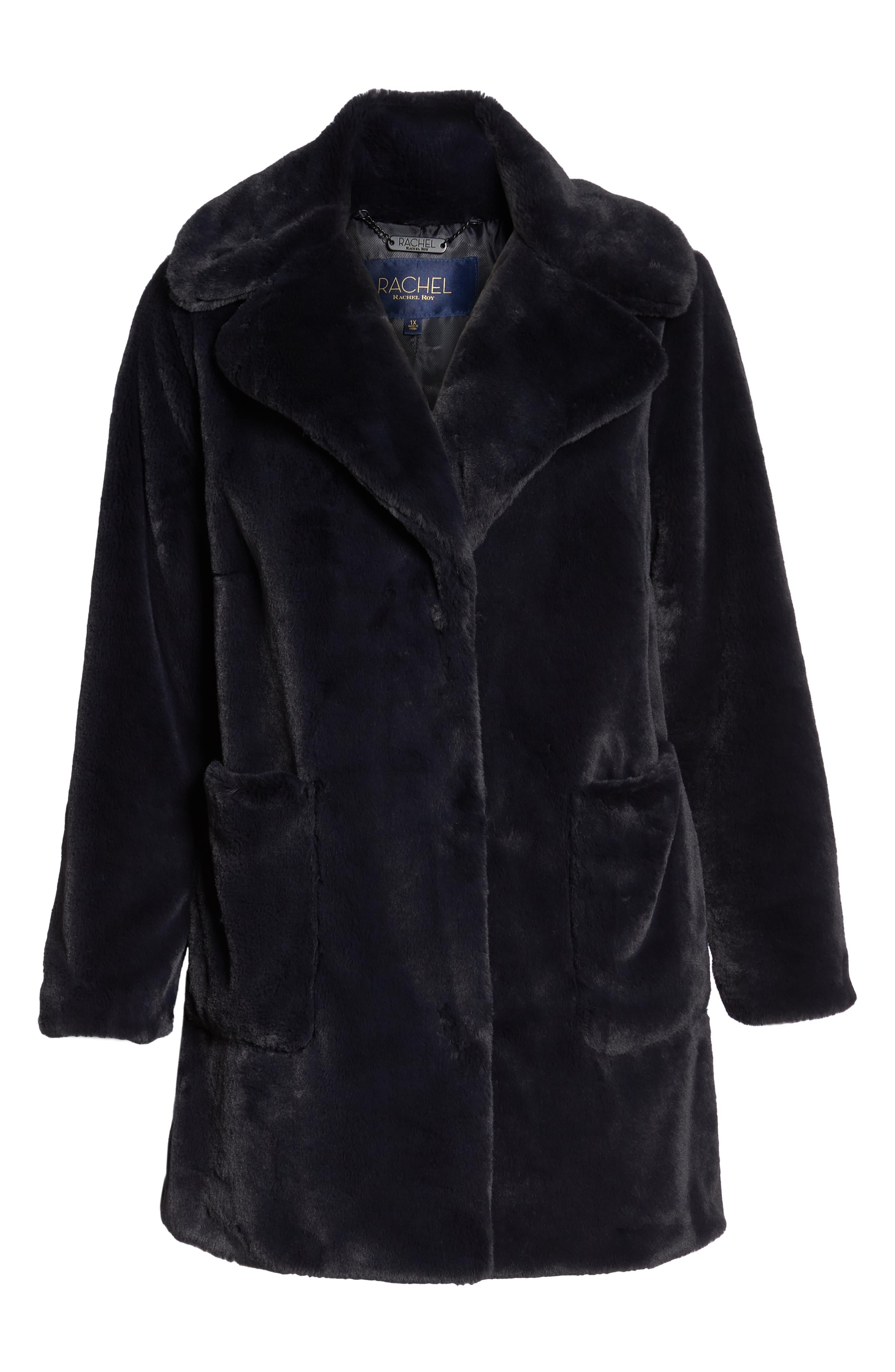 Faux Fur Coat,                             Alternate thumbnail 6, color,                             SLATE