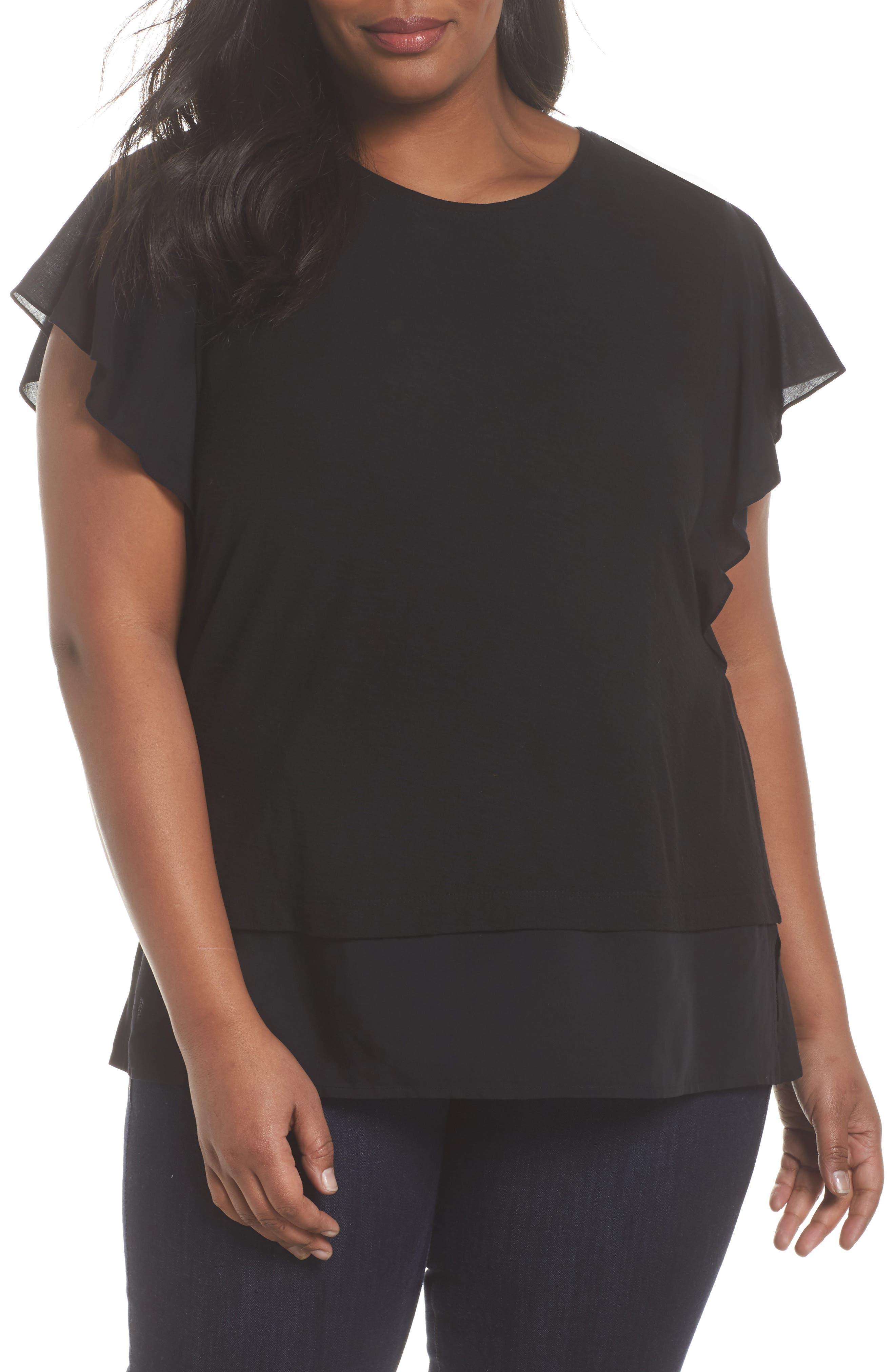 Ruffle Sleeve Mix Media Top,                         Main,                         color, RICH BLACK