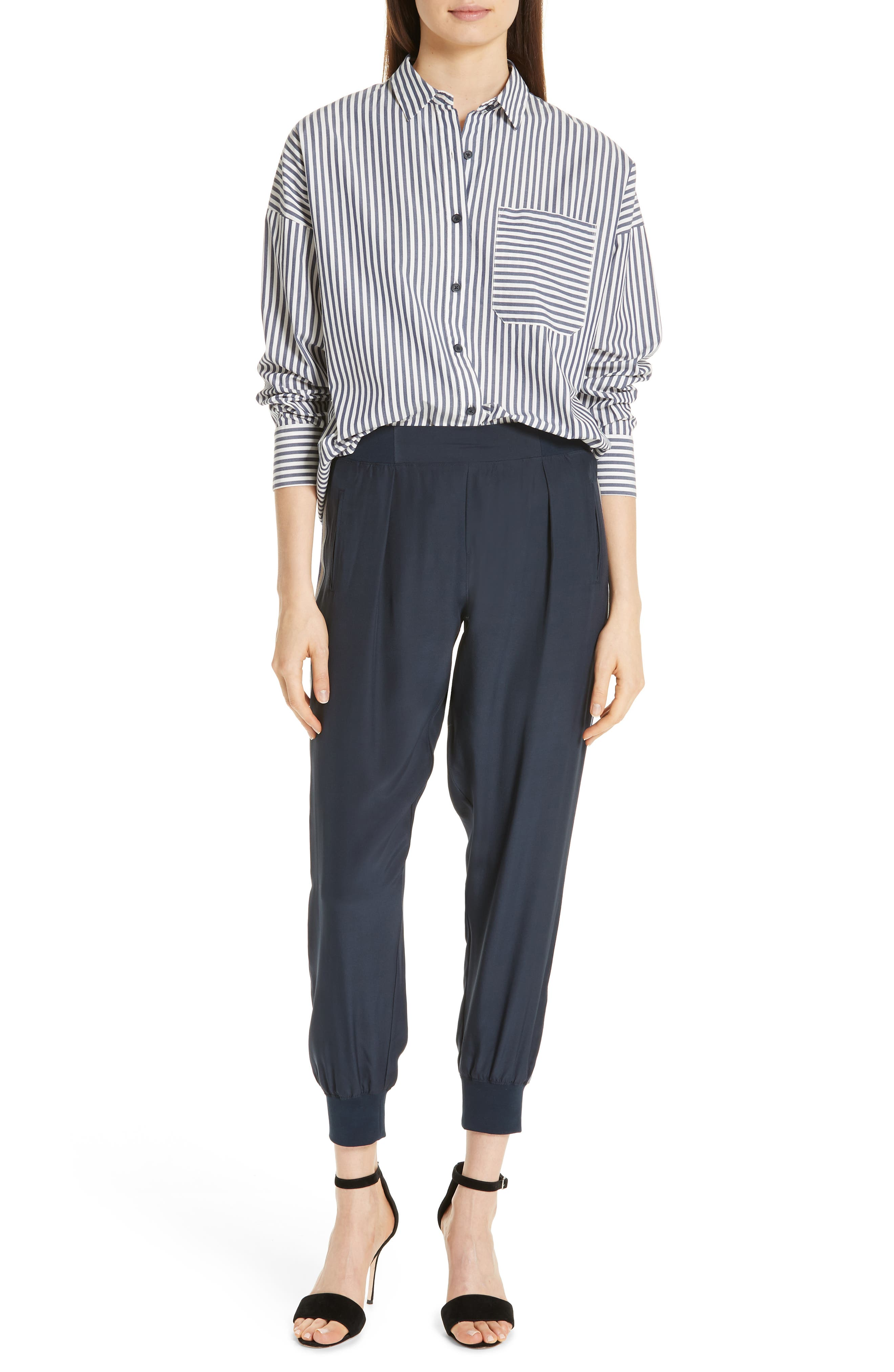 Railroad Stripe Boyfriend Shirt,                             Alternate thumbnail 7, color,                             NAVY/ WHITE