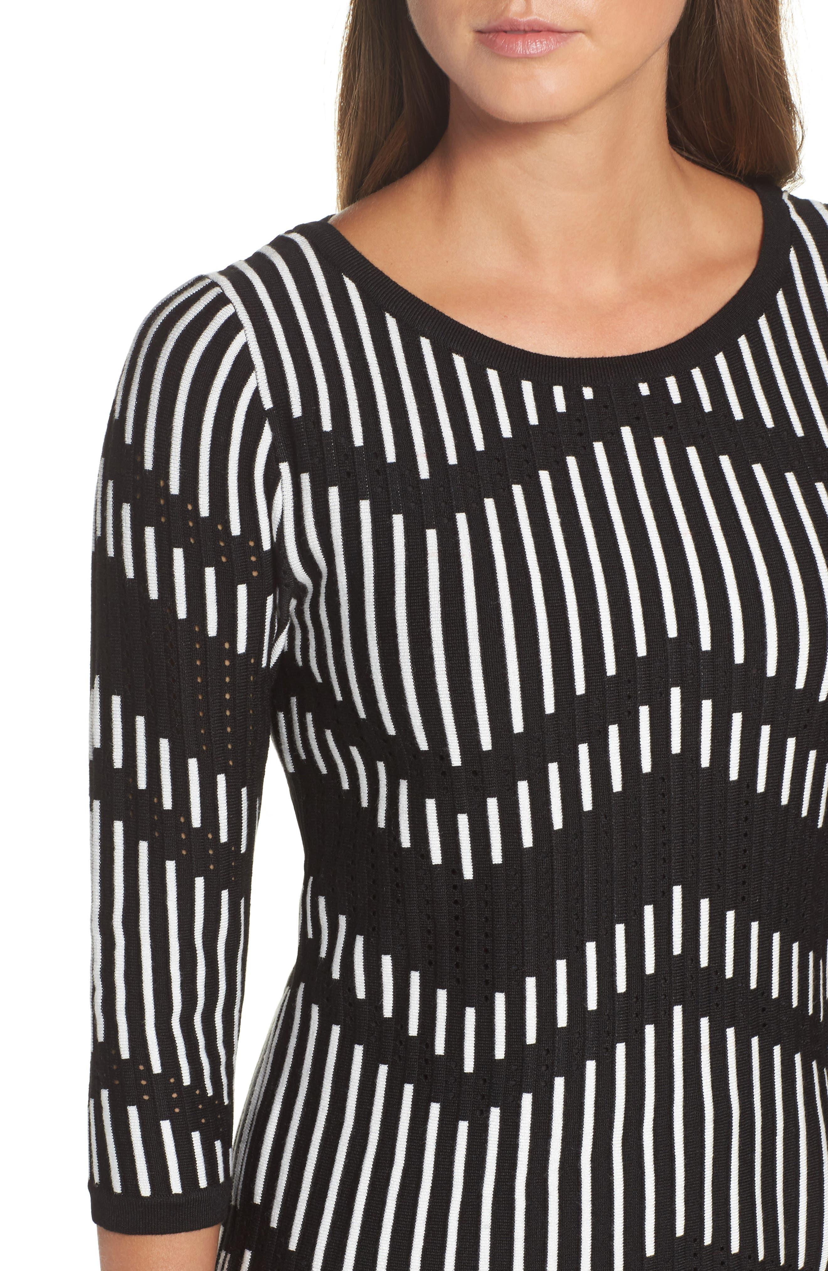Zig Zag Sweater Dress,                             Alternate thumbnail 4, color,                             001