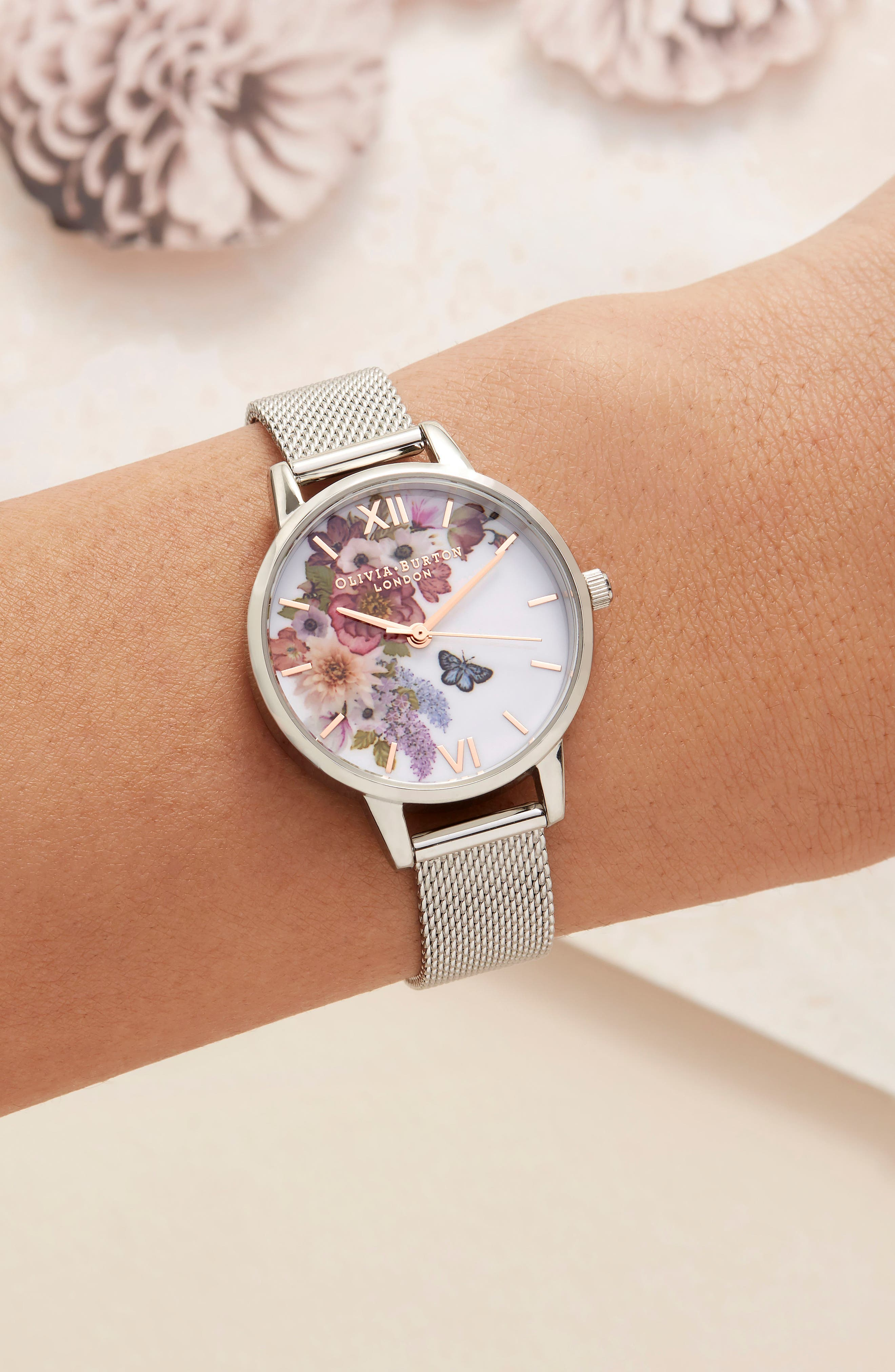 Enchanted Garden Mesh Strap Watch, 30mm,                             Alternate thumbnail 7, color,                             SILVER/ FLORAL/ ROSE GOLD
