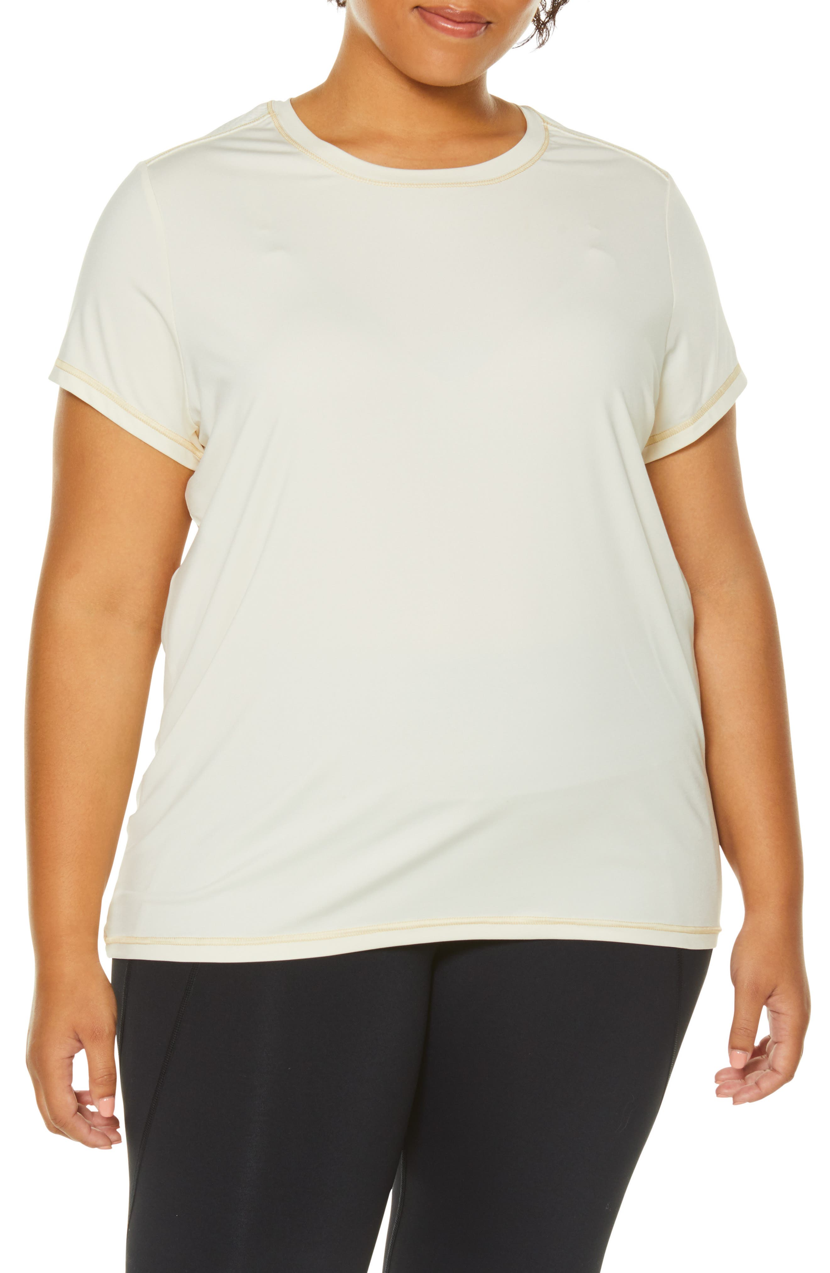 Plus Size Shape Activewear Wishbone Tee, White