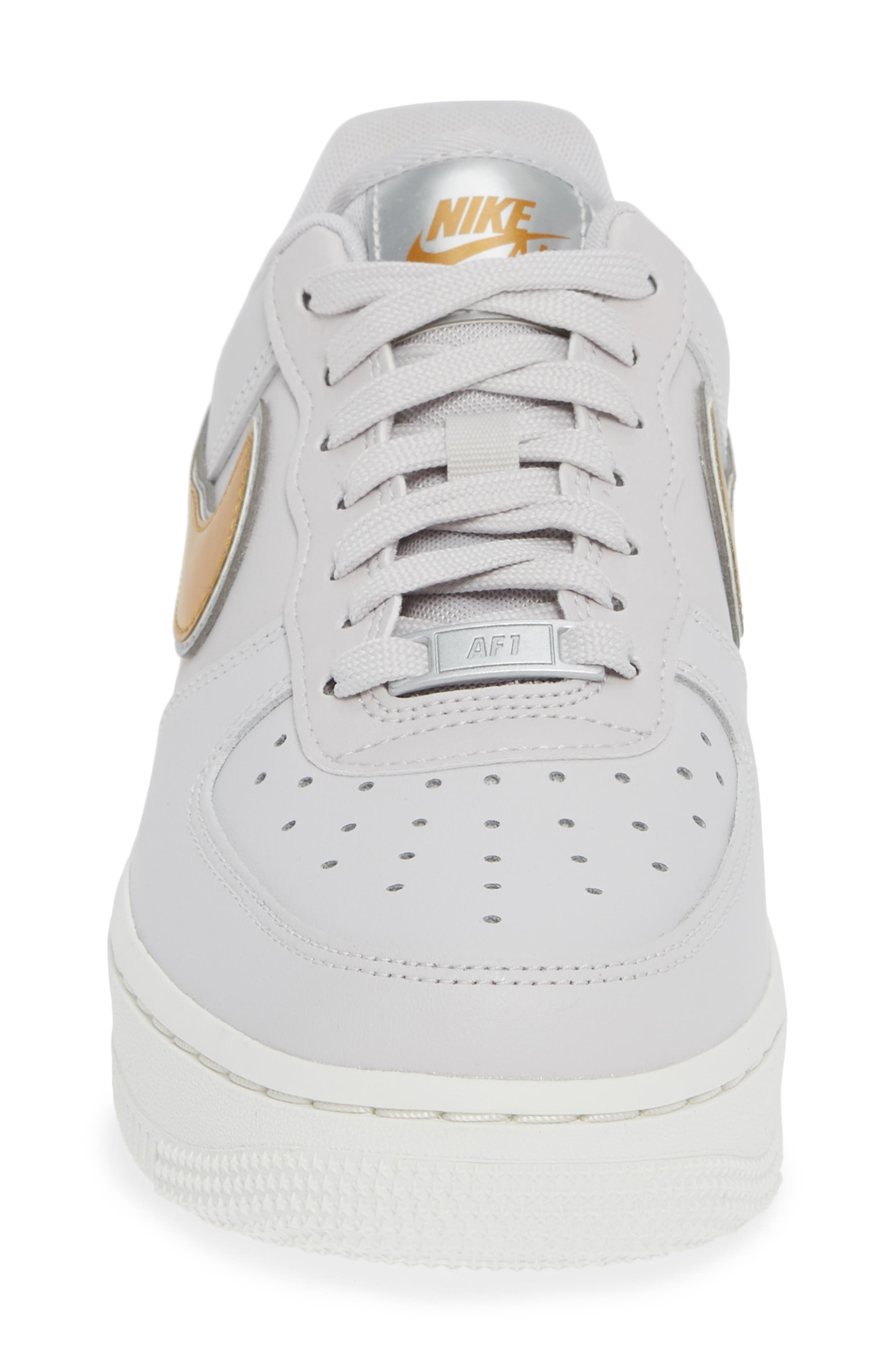 Air Force 1 '07 Premium Sneaker,                             Alternate thumbnail 4, color,                             GREY/ METALLIC GOLD- WHITE
