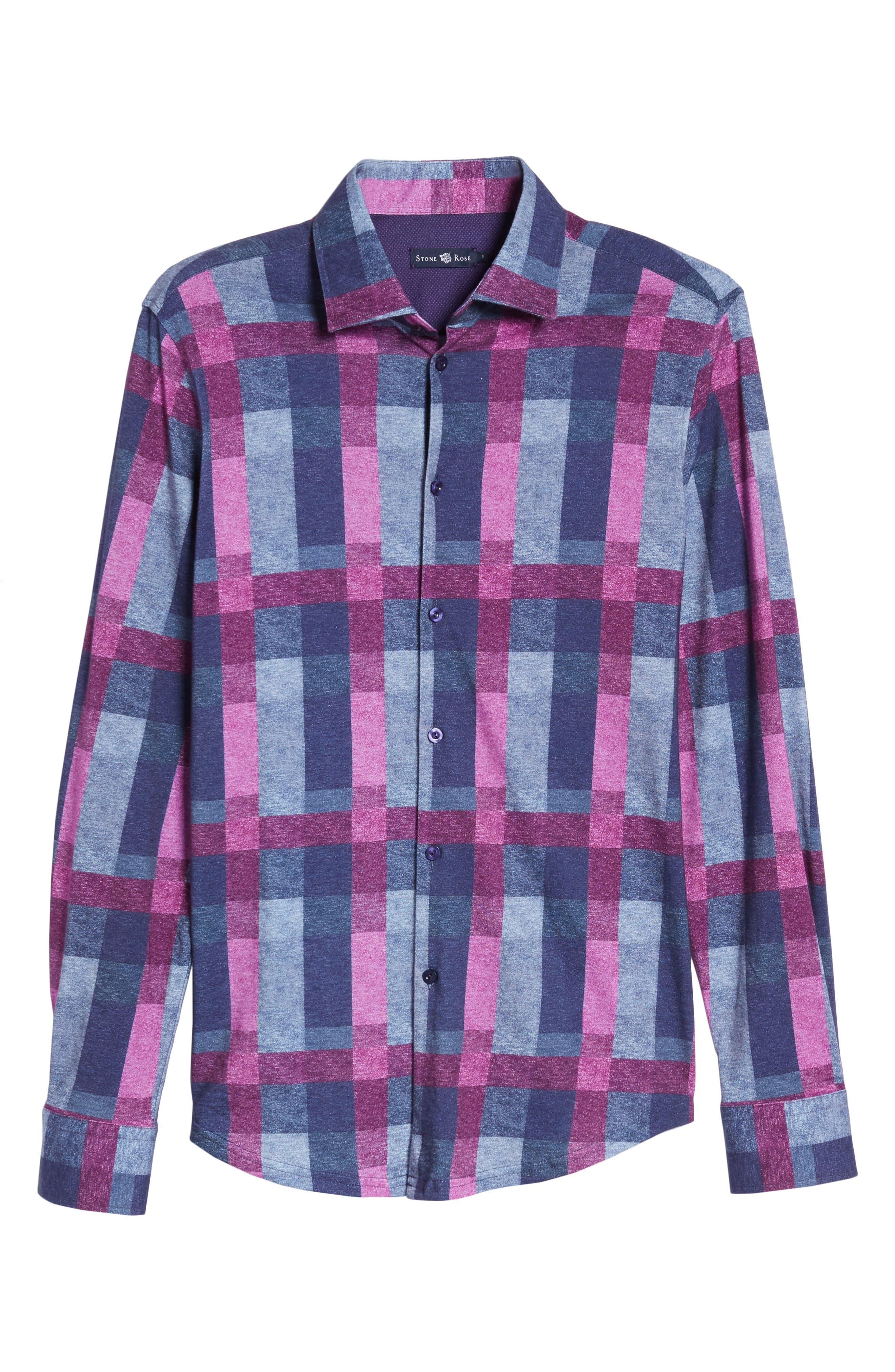Multicheck Print Knit Sport Shirt,                             Alternate thumbnail 6, color,                             410