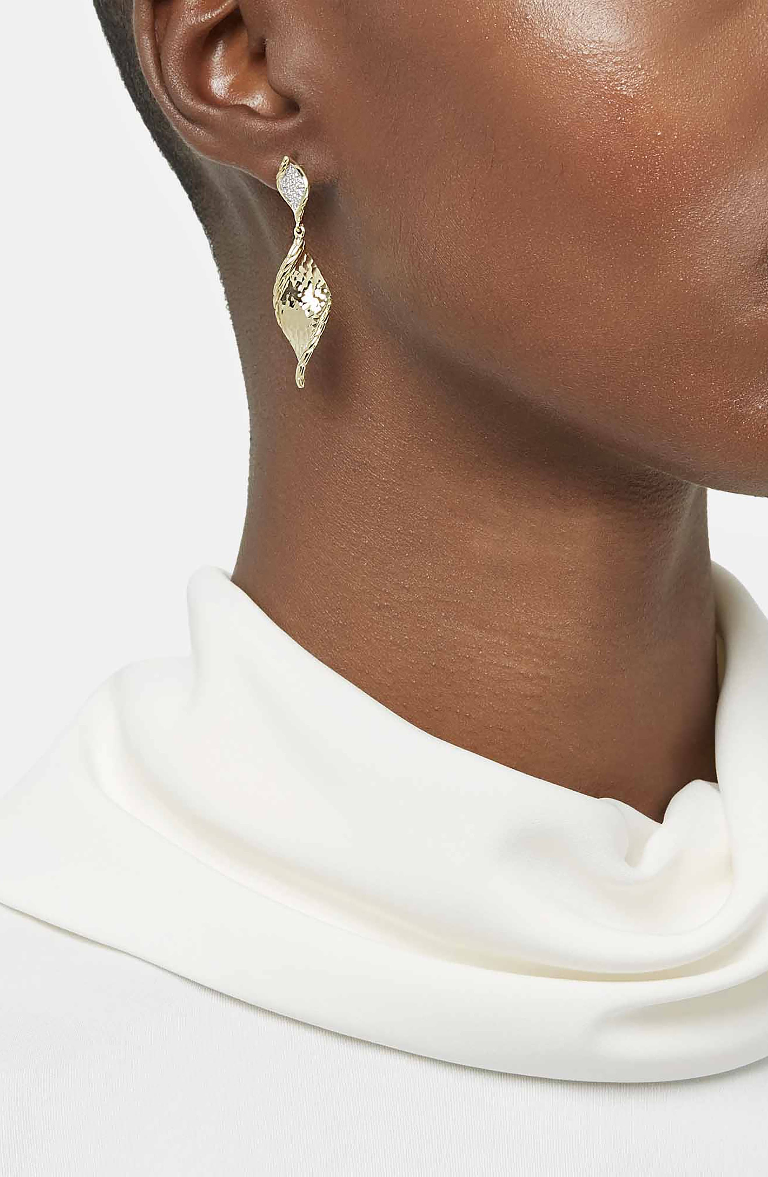 Classic Chain Hammered Gold Drop Earrings with Diamonds,                             Alternate thumbnail 2, color,                             GOLD/ DIAMOND