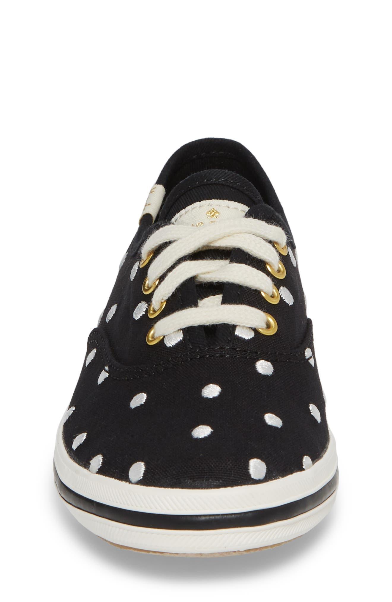 x kate spade new york champion polka dot lace-up shoe,                             Alternate thumbnail 4, color,                             BLACK DANCING DOT