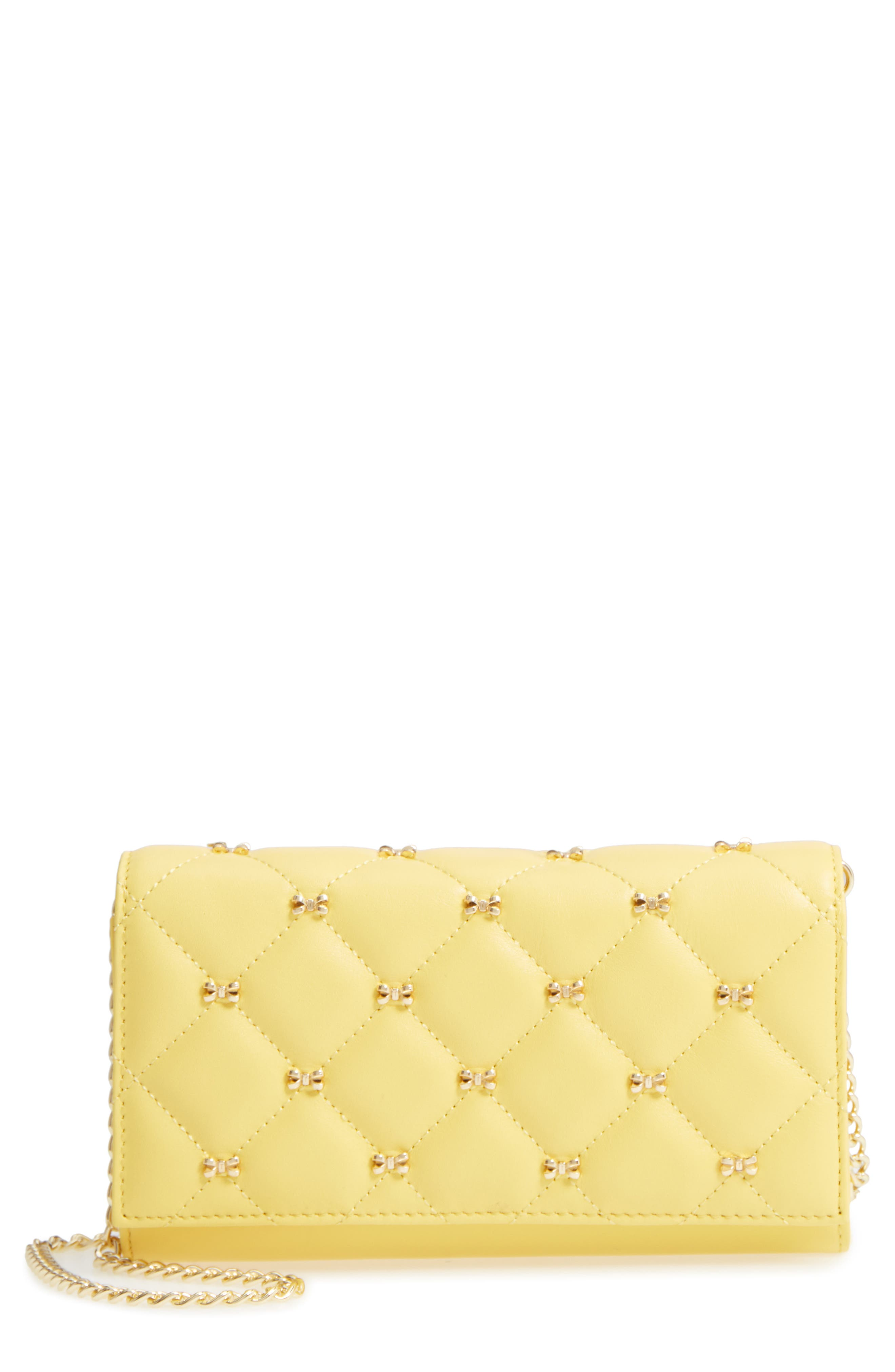 TED BAKER LONDON Quilted Bow Leather Matinée Wallet on a Chain, Main, color, 700