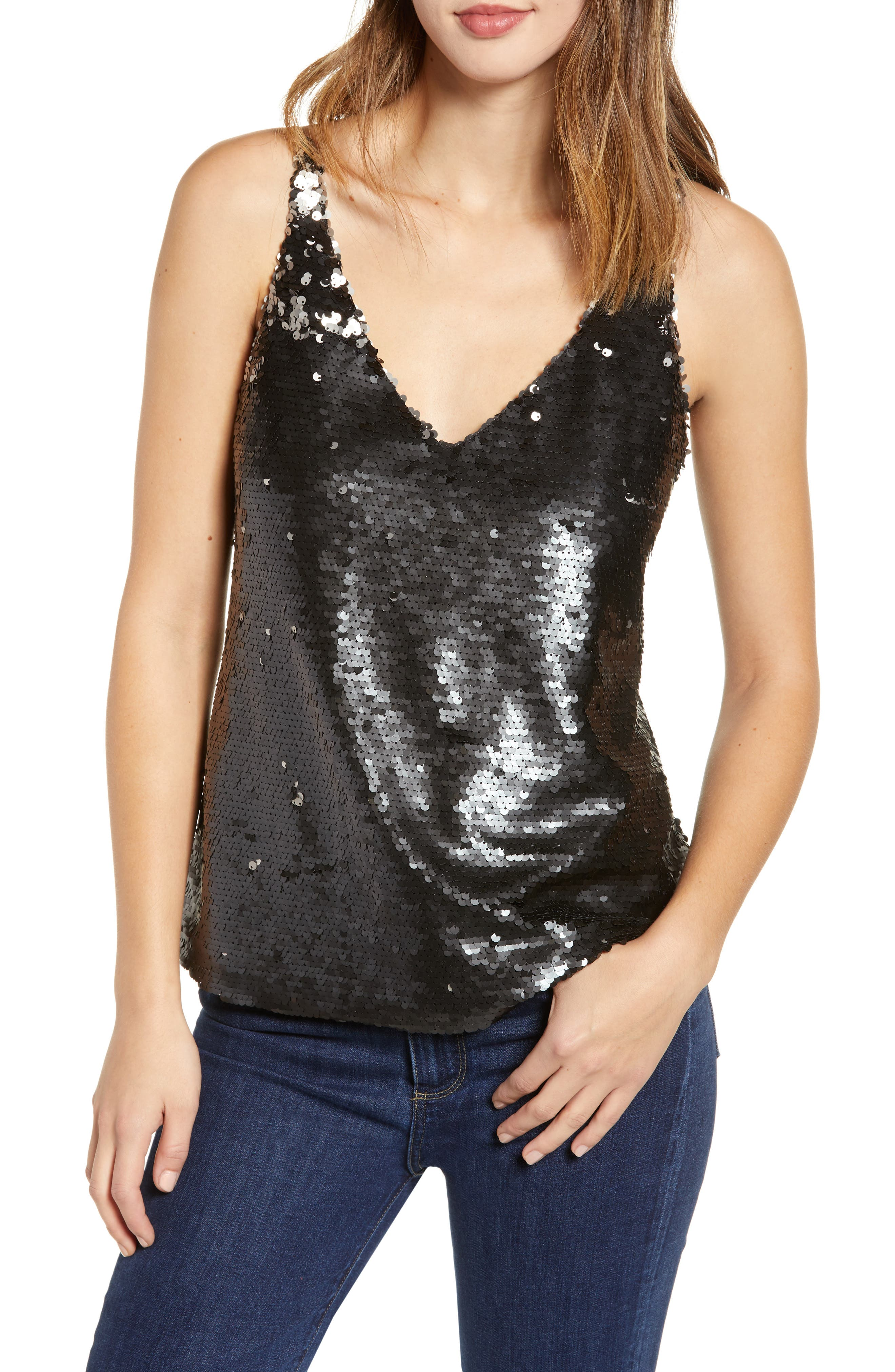 Lucy Sequined Camisole Top in Black/ Future