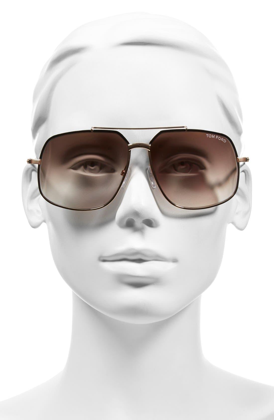 'Ronnie' 60mm Aviator Sunglasses,                             Alternate thumbnail 2, color,                             001