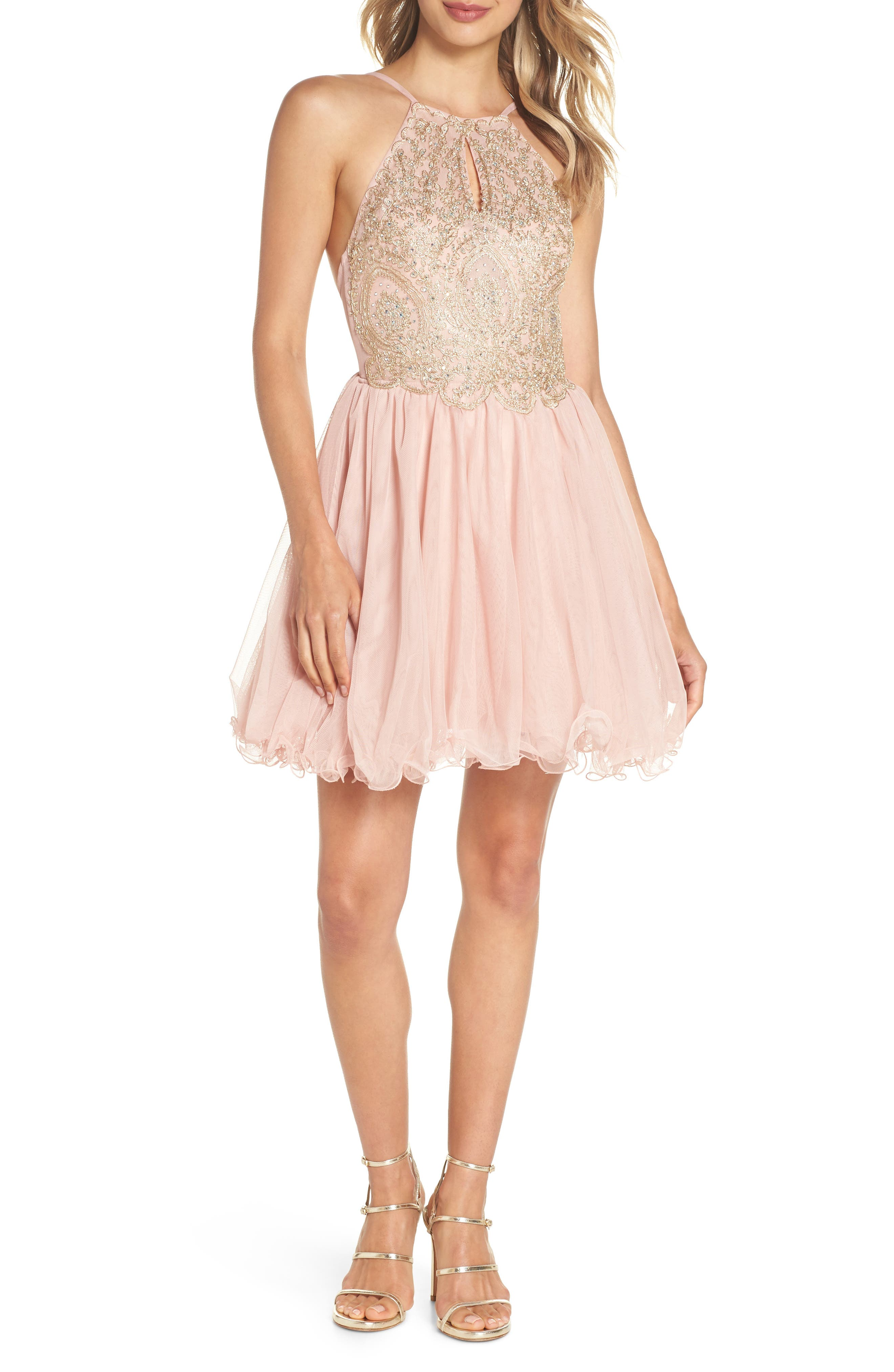Embellished Fit & Flare Dress,                             Main thumbnail 1, color,