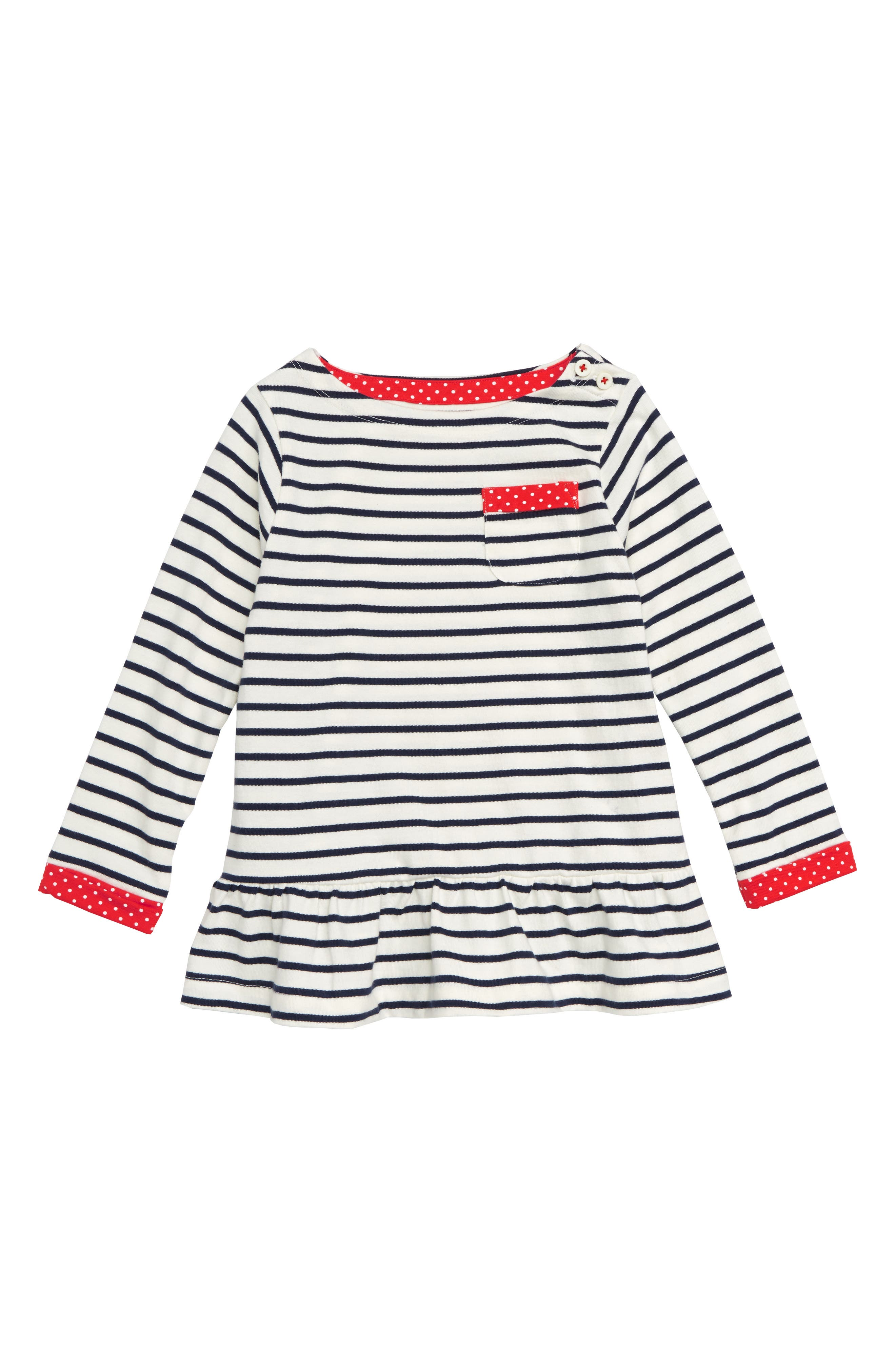 Stripy Pocket Tunic,                         Main,                         color, ECRU/ SCHOOL NAVY