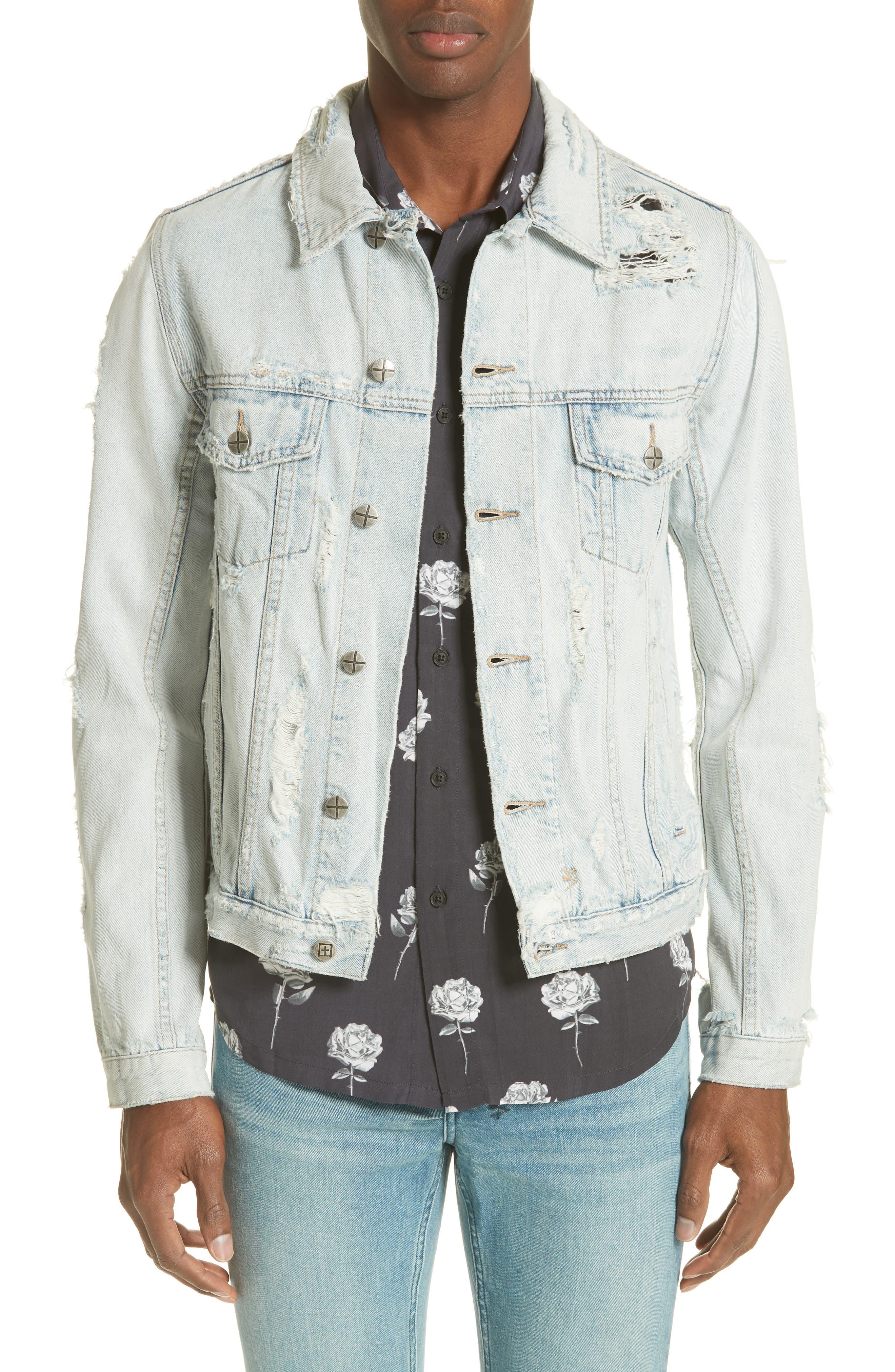 Chaser Ripped Denim Jacket,                         Main,                         color, DENIM