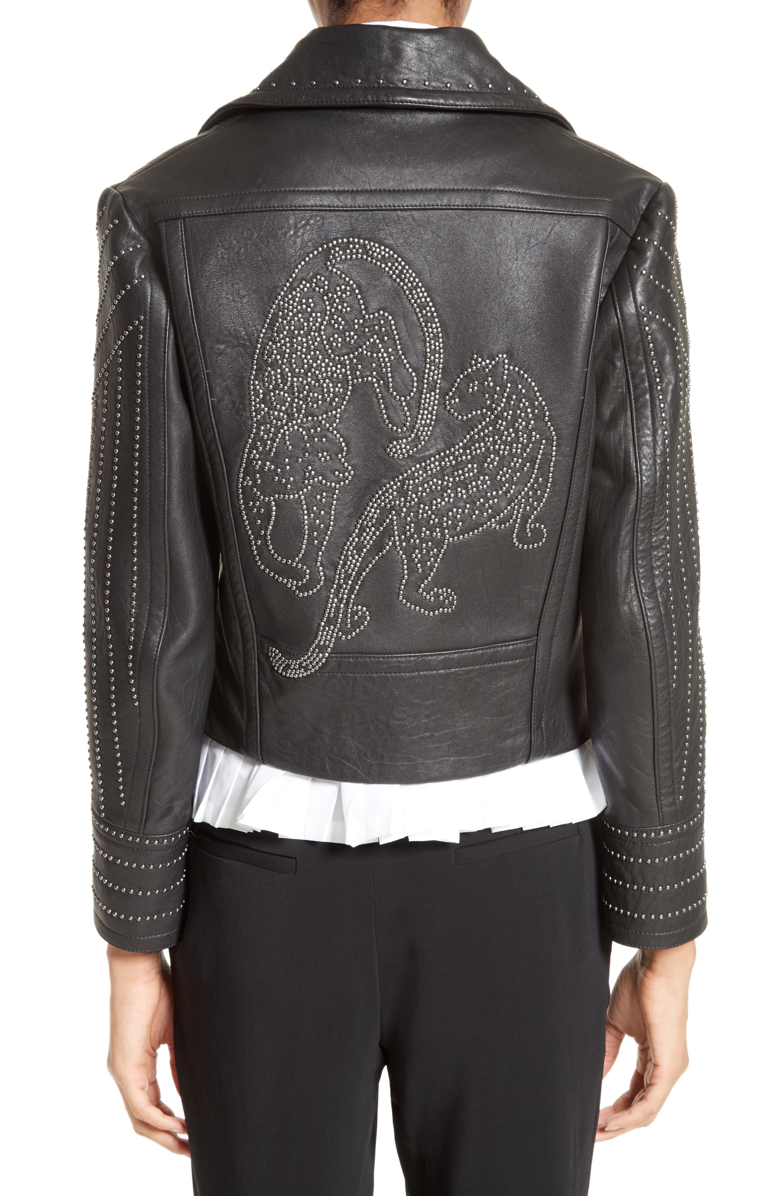 Studded Leather Jacket,                             Alternate thumbnail 2, color,                             001