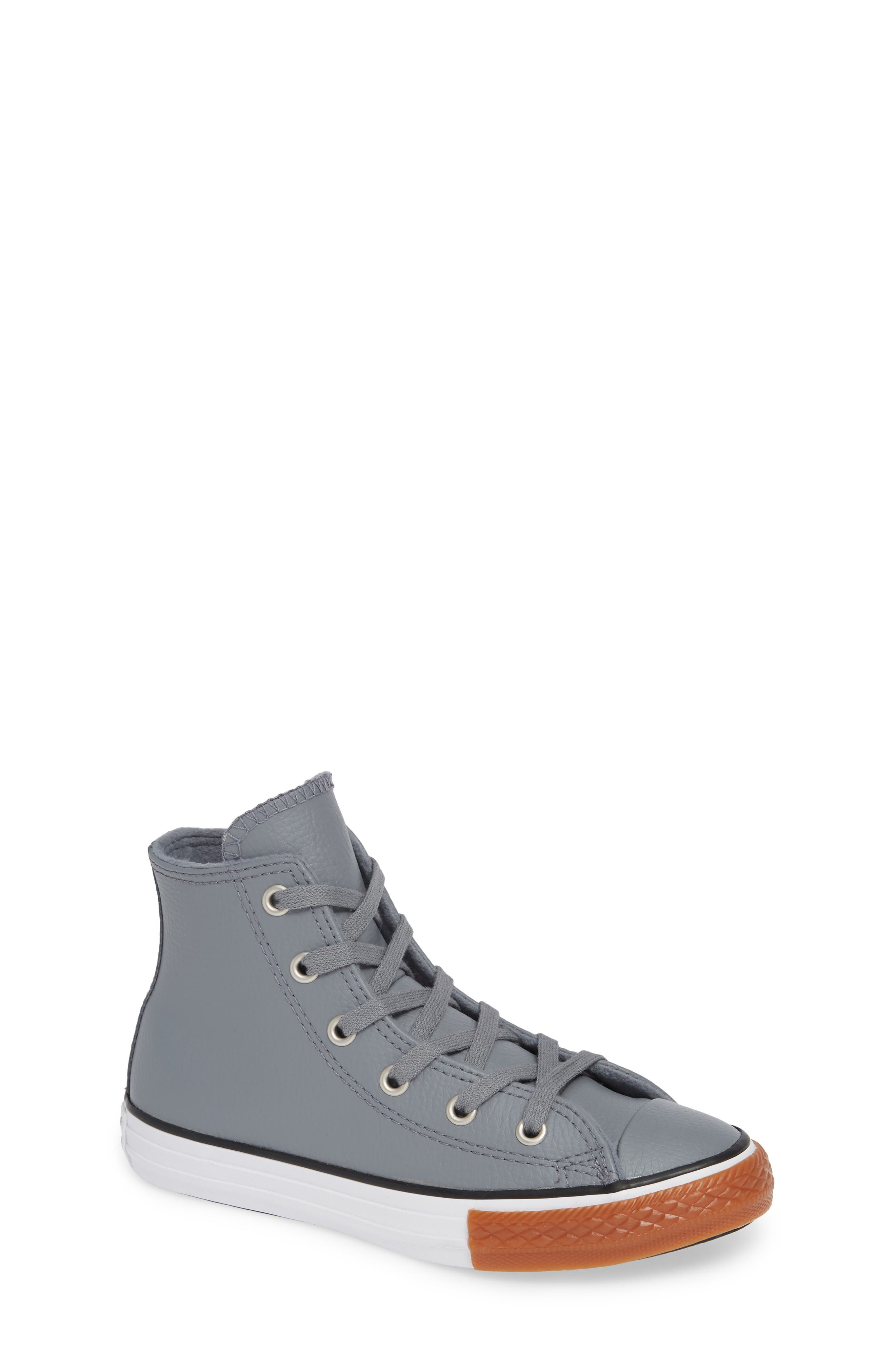 Chuck Taylor<sup>®</sup> All Star<sup>®</sup> No Gum In Class Leather High Top Sneaker,                         Main,                         color, COOL GREY