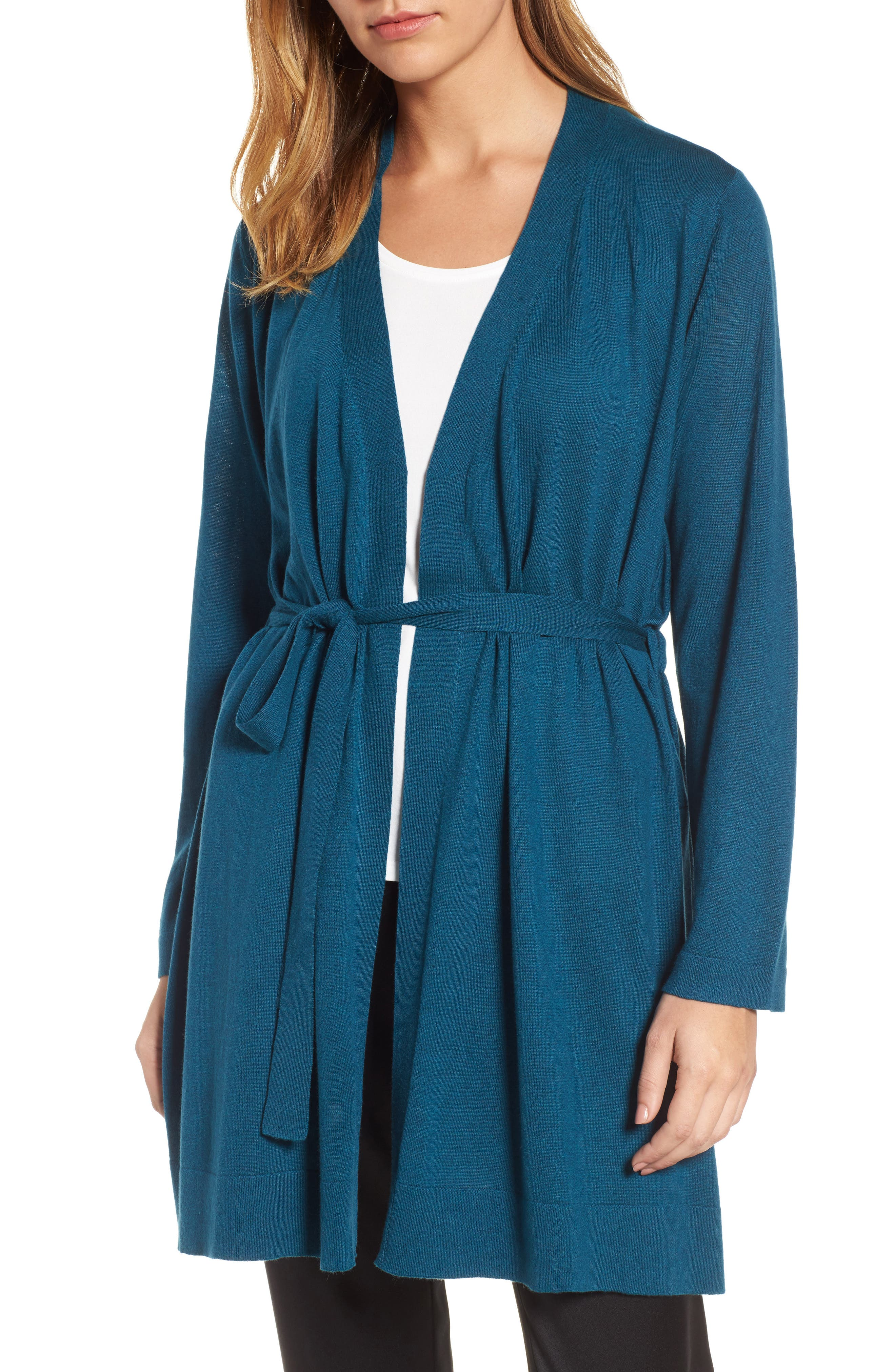 Tie Waist Tencel<sup>®</sup> Lyocell Blend Cardigan,                             Main thumbnail 4, color,
