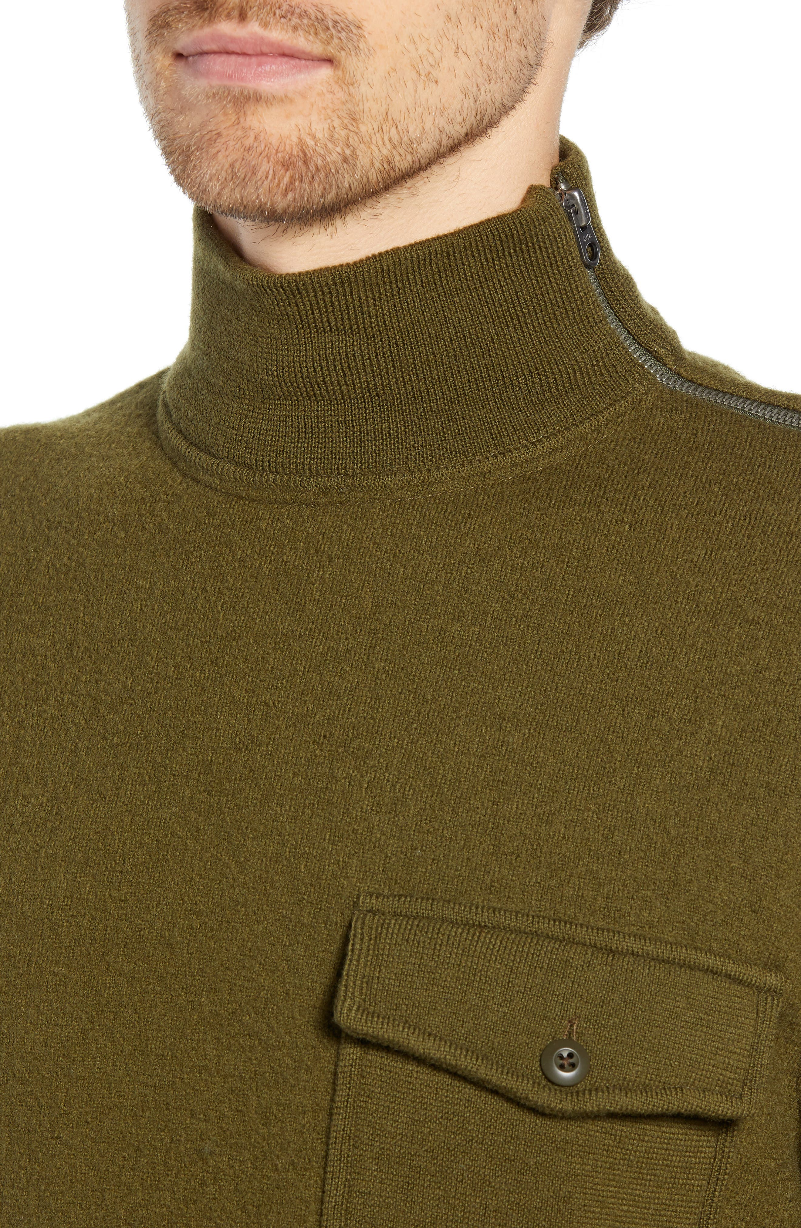 Wallace & Barnes Felted Merino Wool Mock Neck Pullover,                             Alternate thumbnail 4, color,                             ORCHARD GREEN