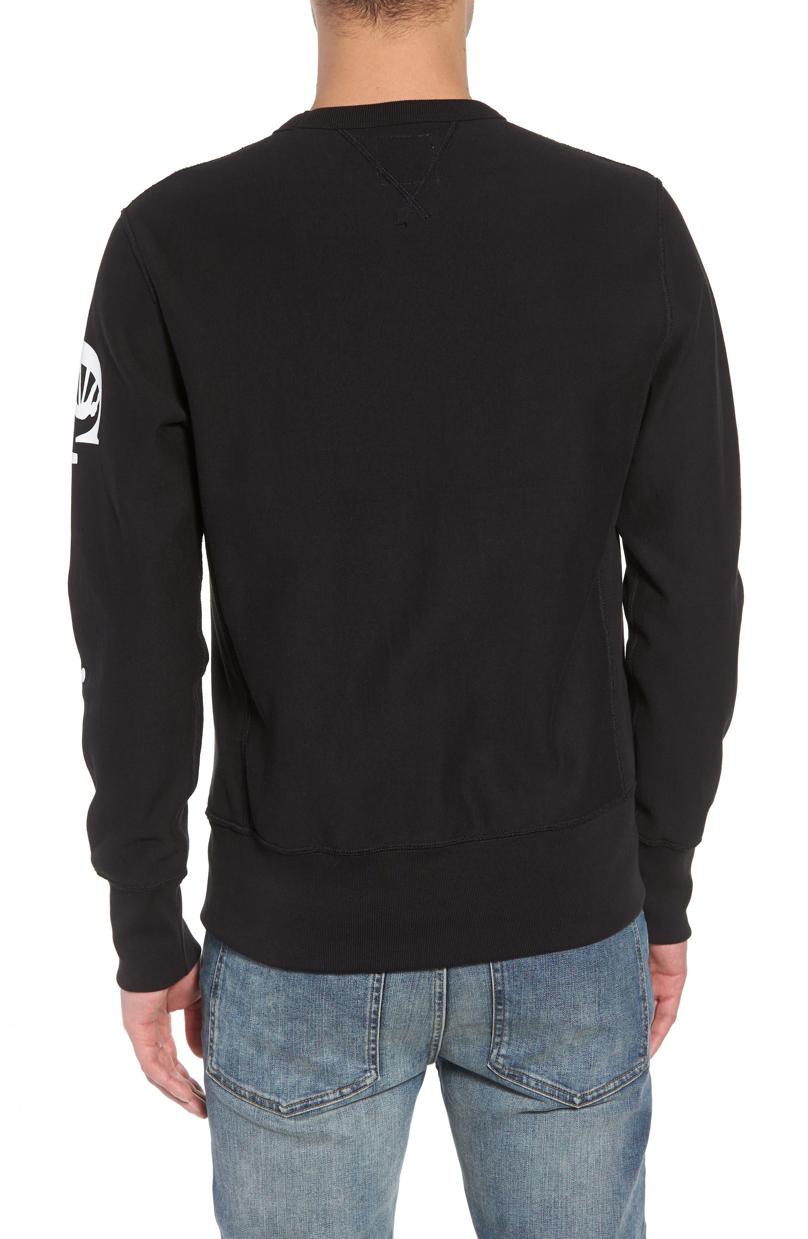 + Champion Graphic Sleeve Sweatshirt,                             Alternate thumbnail 2, color,                             001