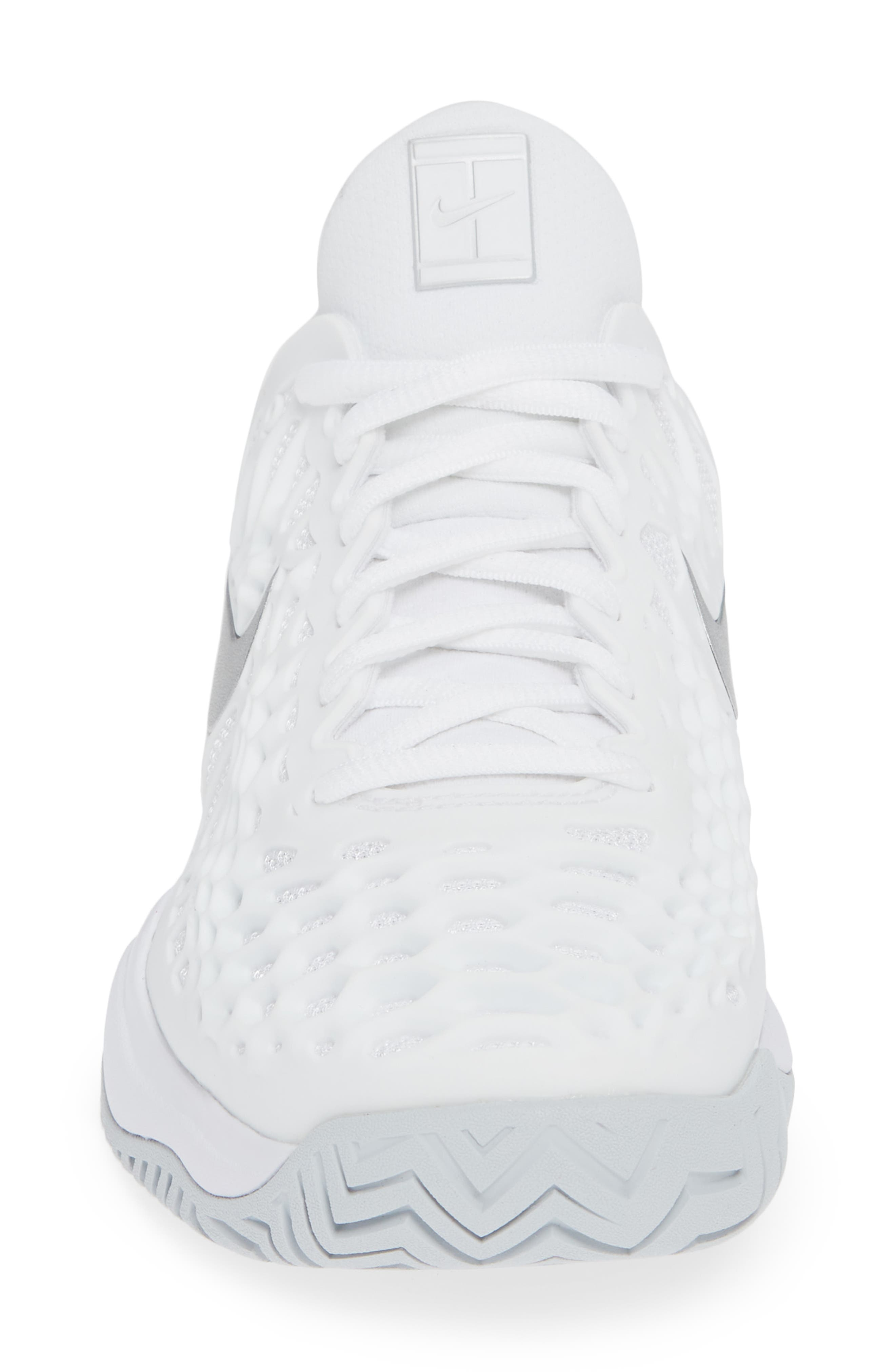 Air Zoom Cage 3 HC Tennis Shoe,                             Alternate thumbnail 4, color,                             WHITE/ SILVER/ PLATINUM