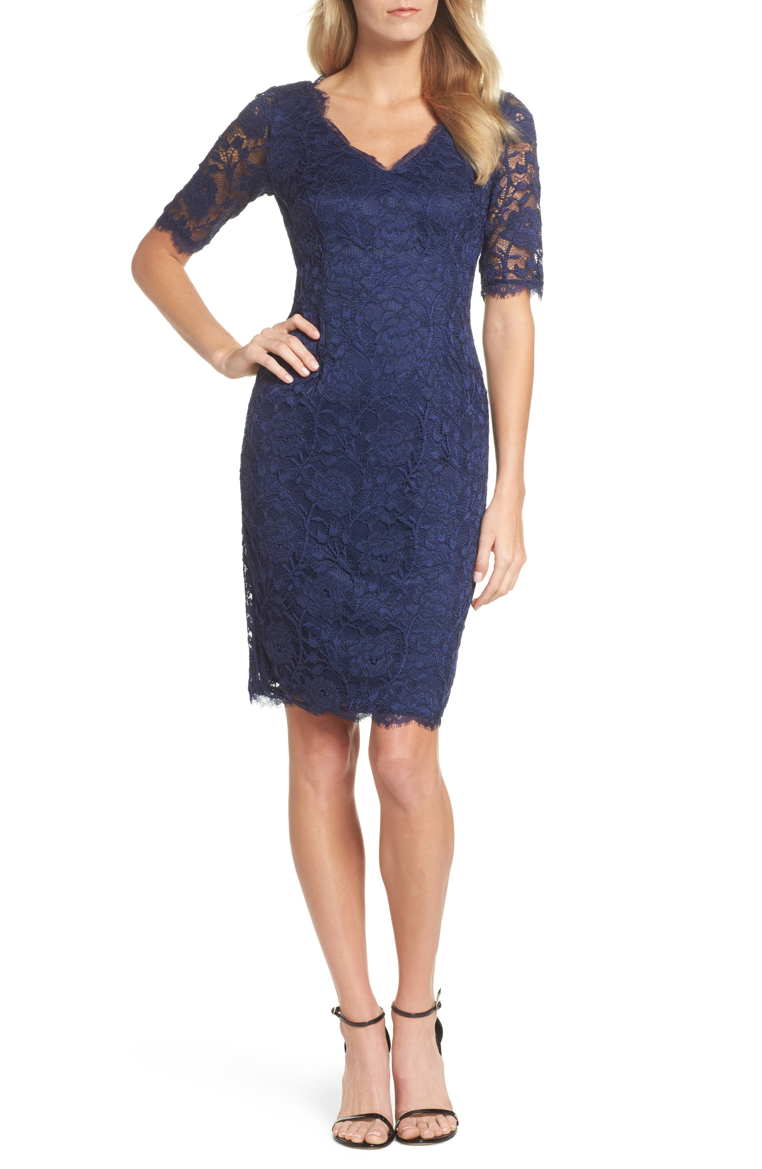 Rose Lace Sheath Dress,                             Main thumbnail 1, color,                             412